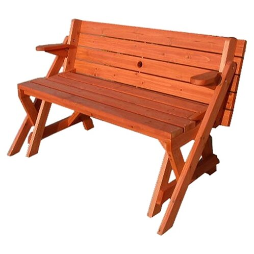 Loon Peak Luxton Convertible Wood Picnic Table Garden Bench Reviews Wayfair