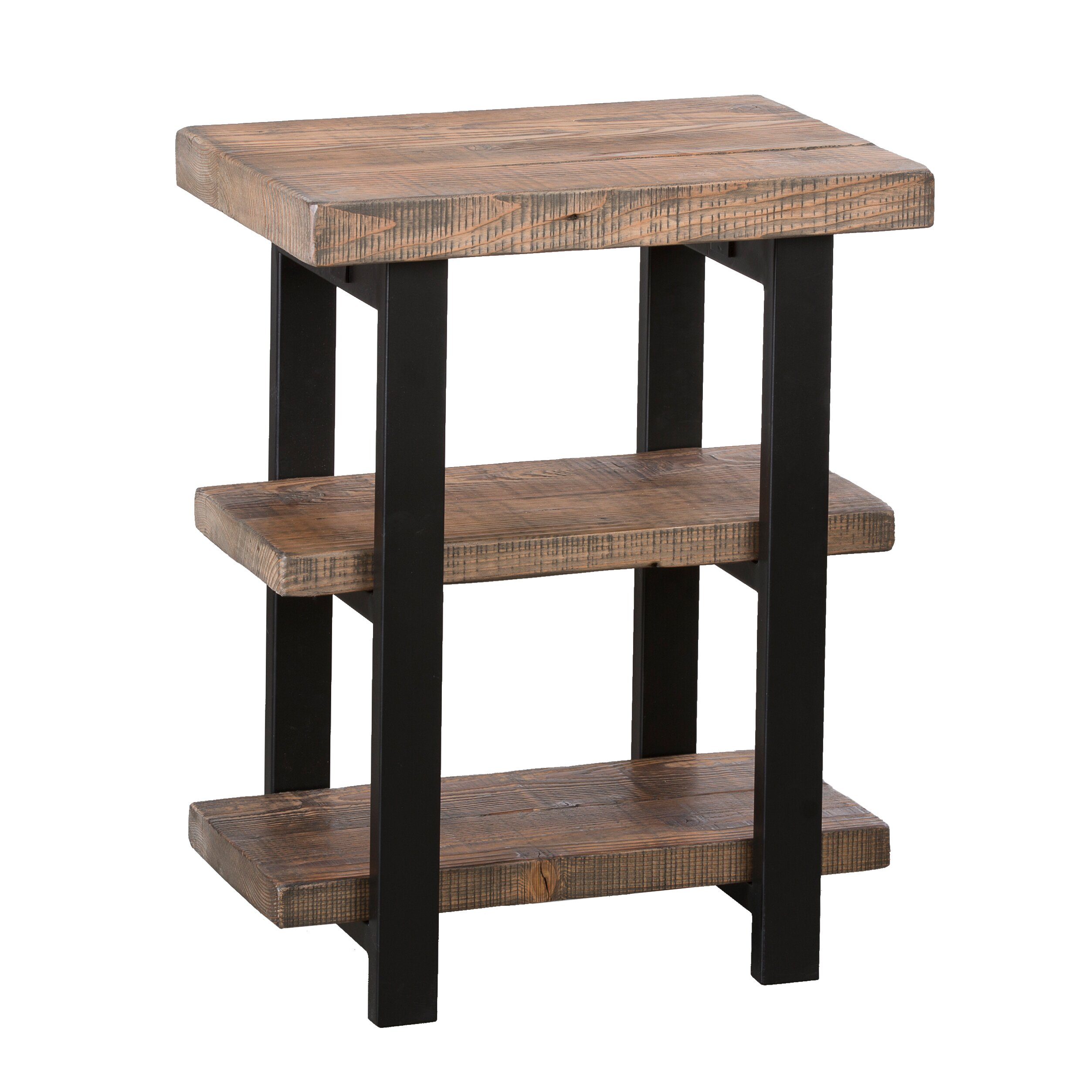 Loon peak somers 2 shelf reclaimed wood metal end table for Reclaimed wood and metal table