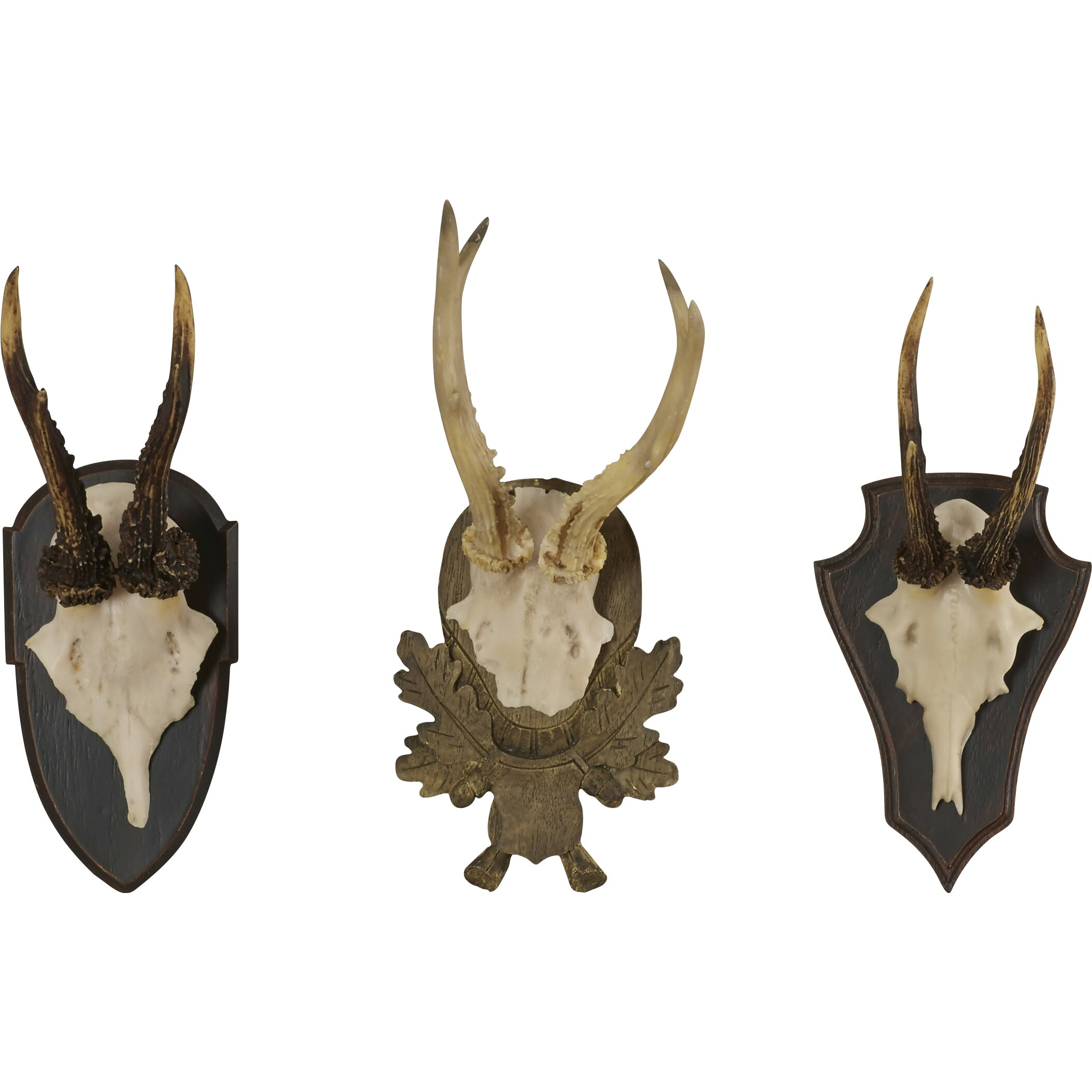 Loon peak orient 3 piece antler trophy wall decor set for Antler wall decor