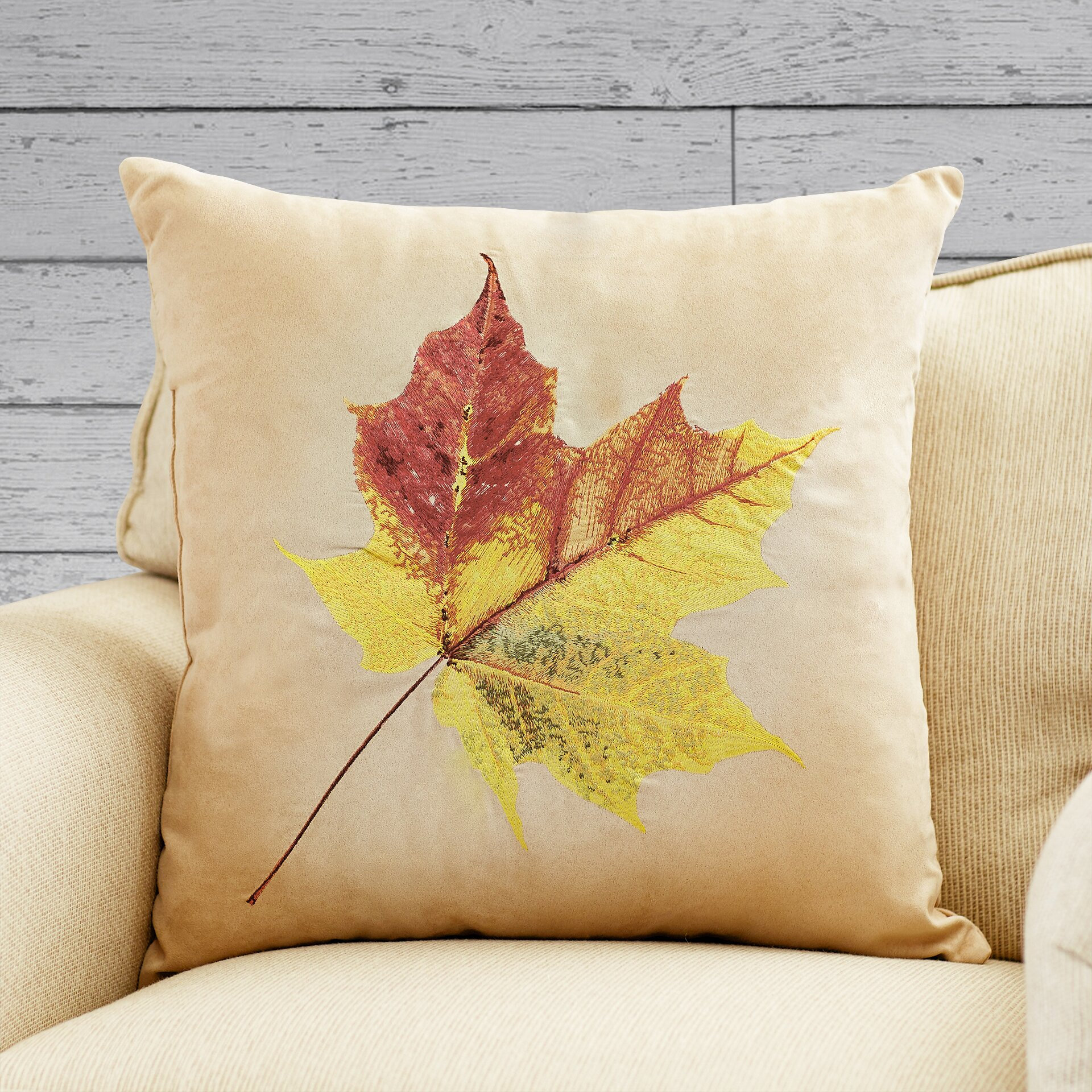 Loon peak dixie leaf embroidered suede throw pillow