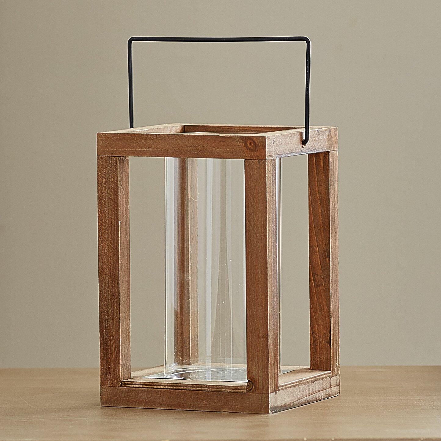 Loon peak rustic wooden garden lantern reviews wayfair for Wooden garden lanterns