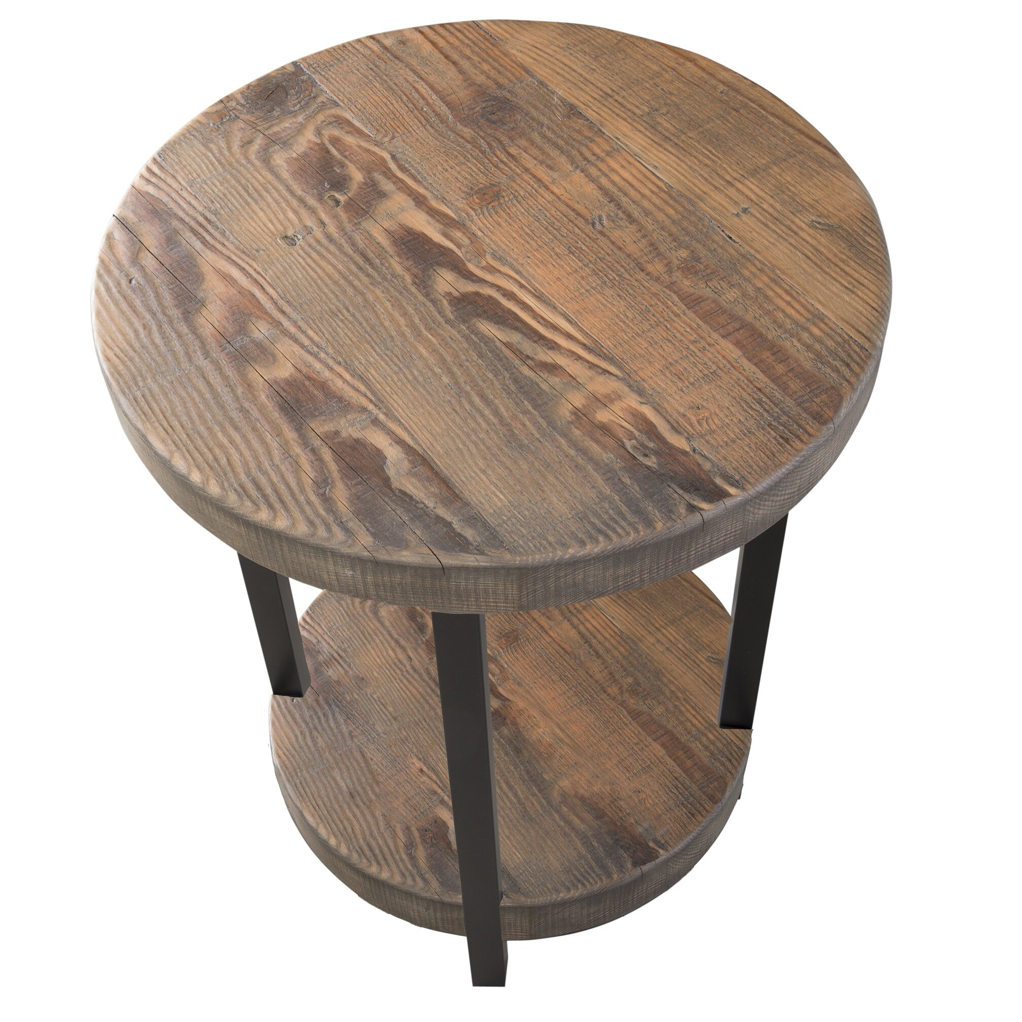 Loon peak somers 20 round reclaimed wood metal end table for Round wood and metal coffee table