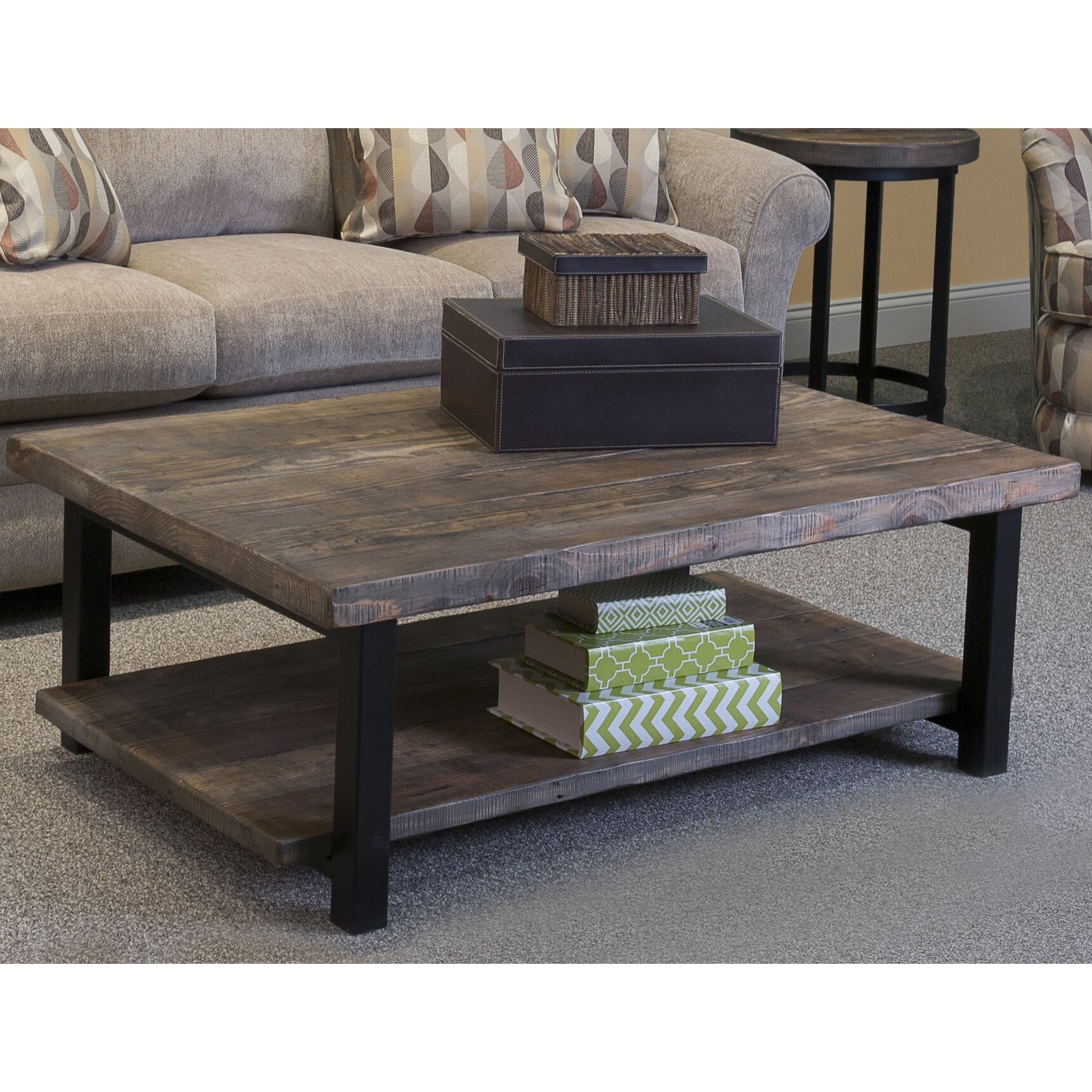 "Loon Peak Somers 48""W Reclaimed Wood/Metal Coffee Table"