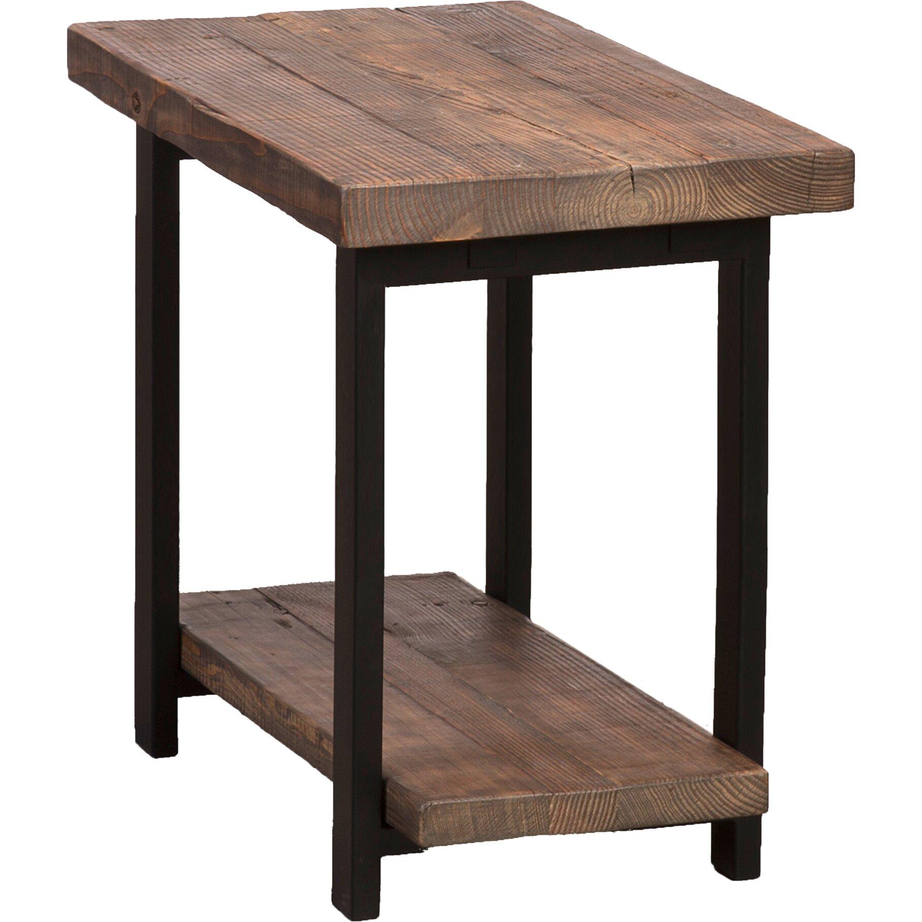 loon peak somers reclaimed wood metal end table reviews wayfair. Black Bedroom Furniture Sets. Home Design Ideas