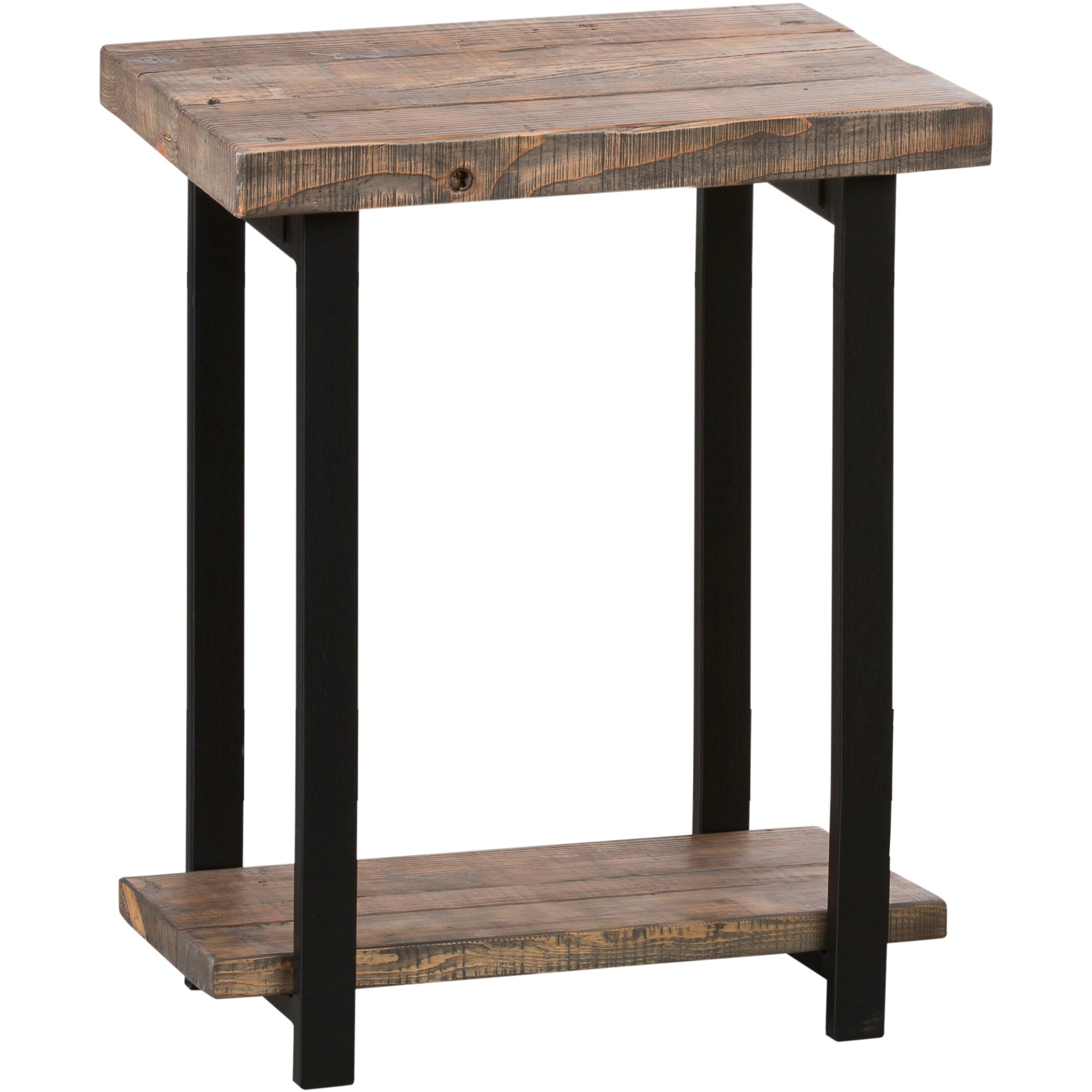 Loon peak somers reclaimed wood metal end table reviews for End tables for sale near me