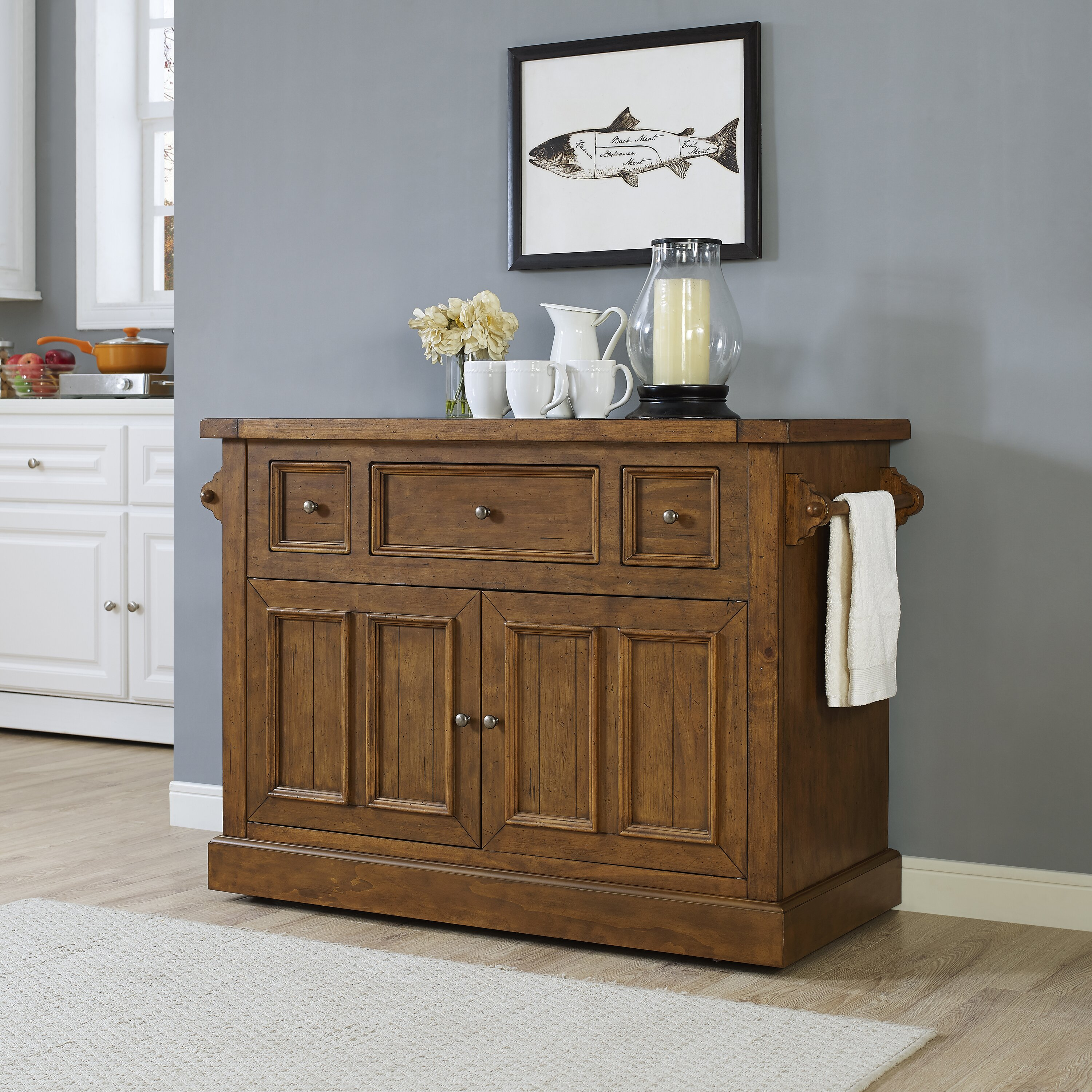 Loon peak ordway kitchen island with marble top wayfair for Marble topped kitchen island