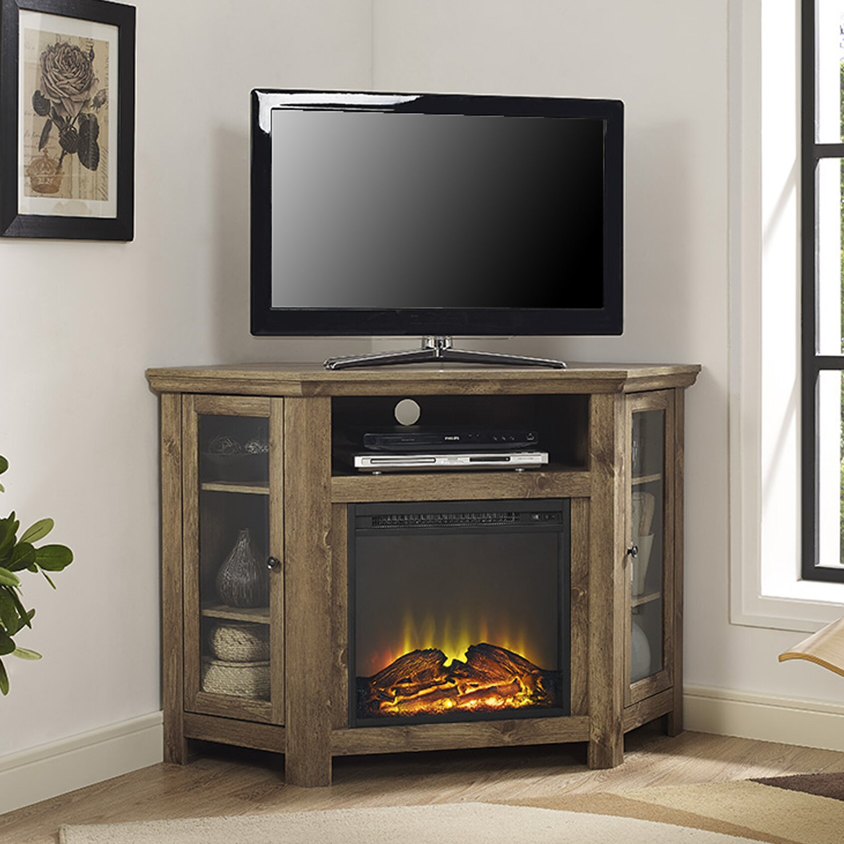 loon peak pueblo corner tv stand with electric fireplace. Black Bedroom Furniture Sets. Home Design Ideas