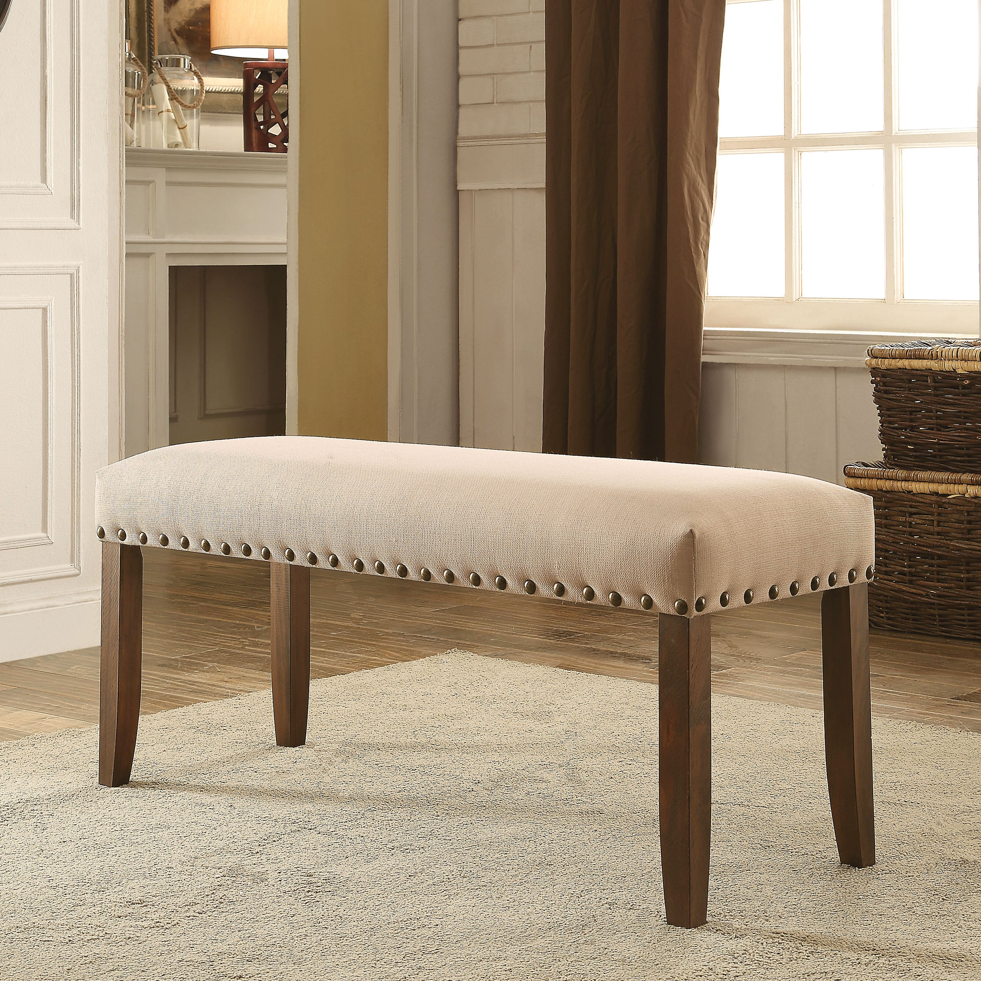 Loon Peak Holly Hills Upholstered Kitchen Bench