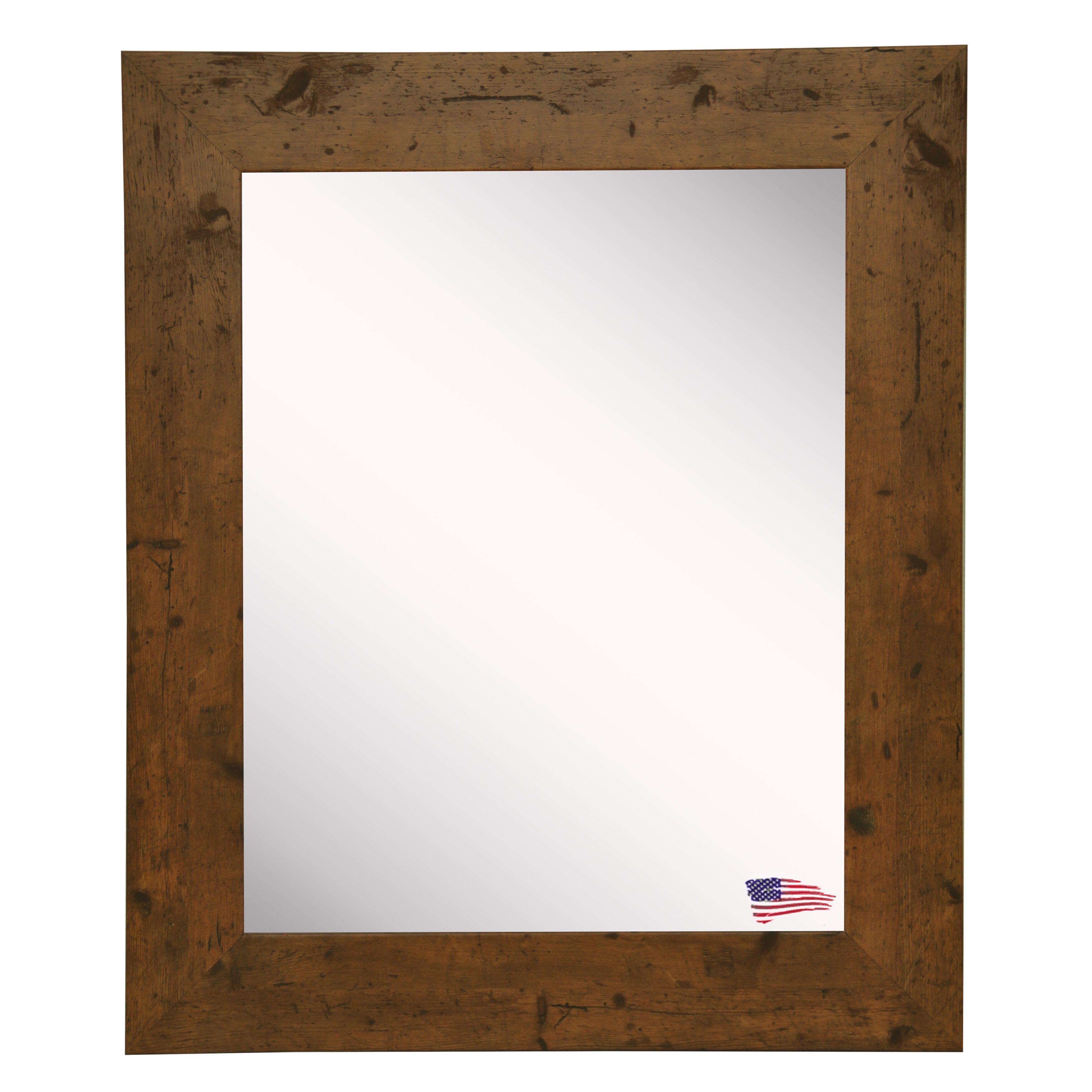 Loon Peak Rustic Light Walnut Wall Mirror Amp Reviews Wayfair