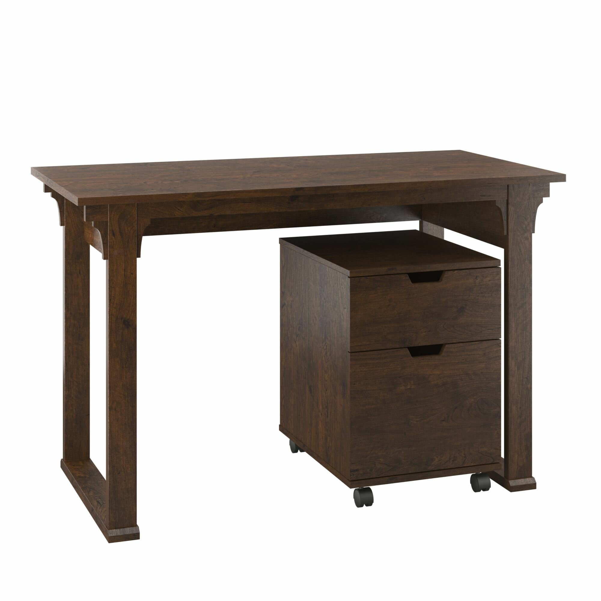 Loon peak aspen writing desk with 2 drawer mobile pedestal Peak office furniture