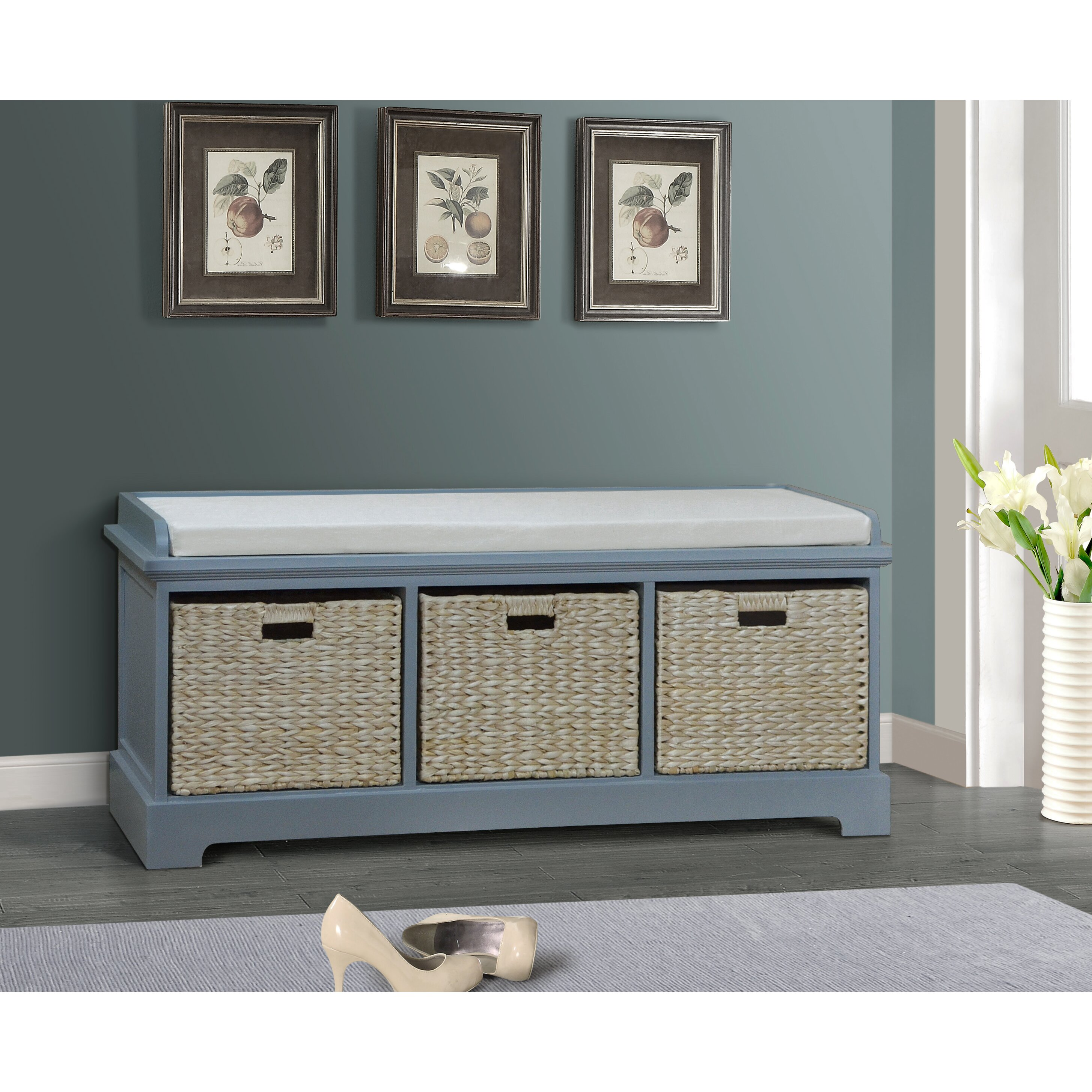 Trent Austin Design Clayera Wooden Bedroom Storage Bench with 3 Baskets &