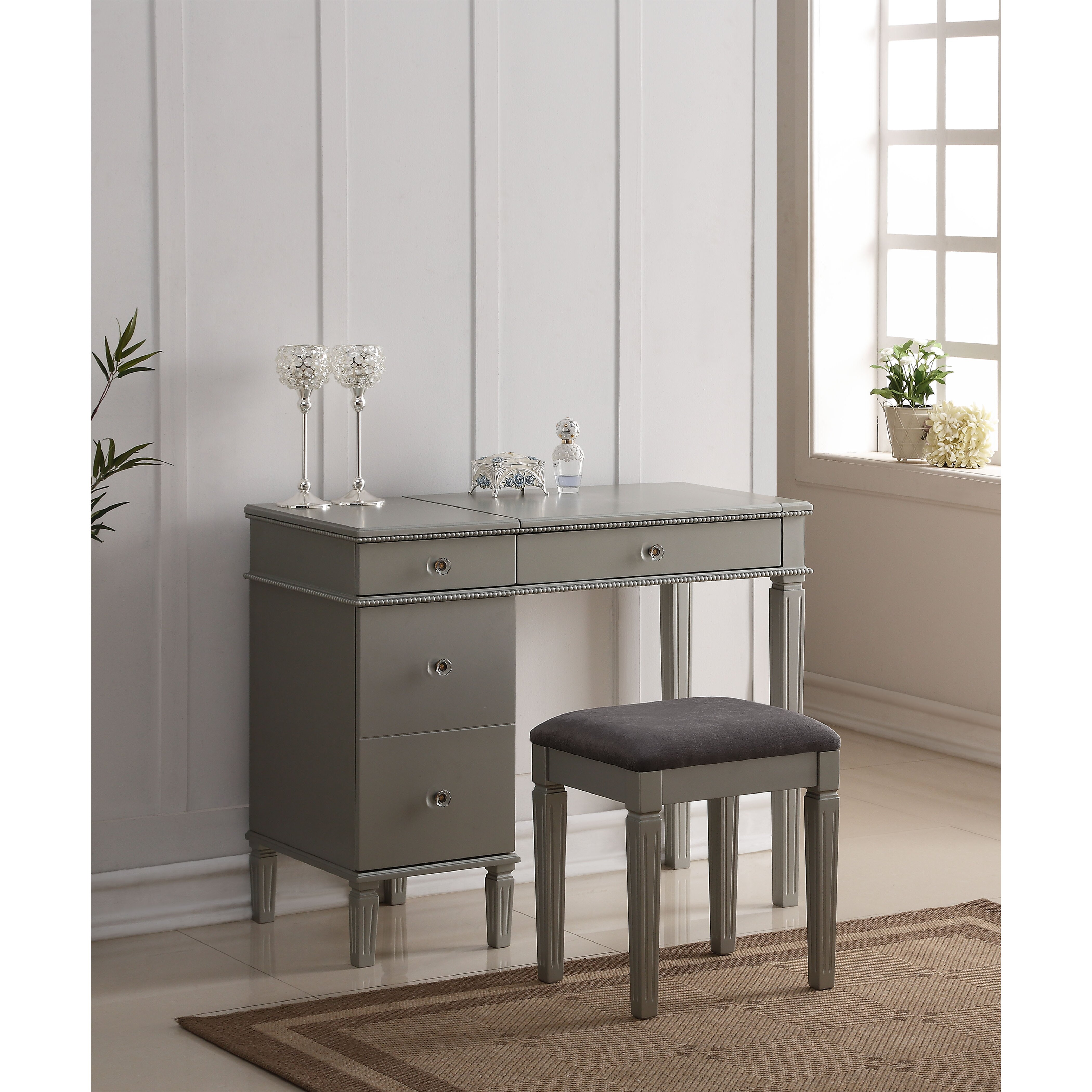 Two Piece Vanity Sets: House Of Hampton 2 Piece Vanity Set With Mirror & Reviews