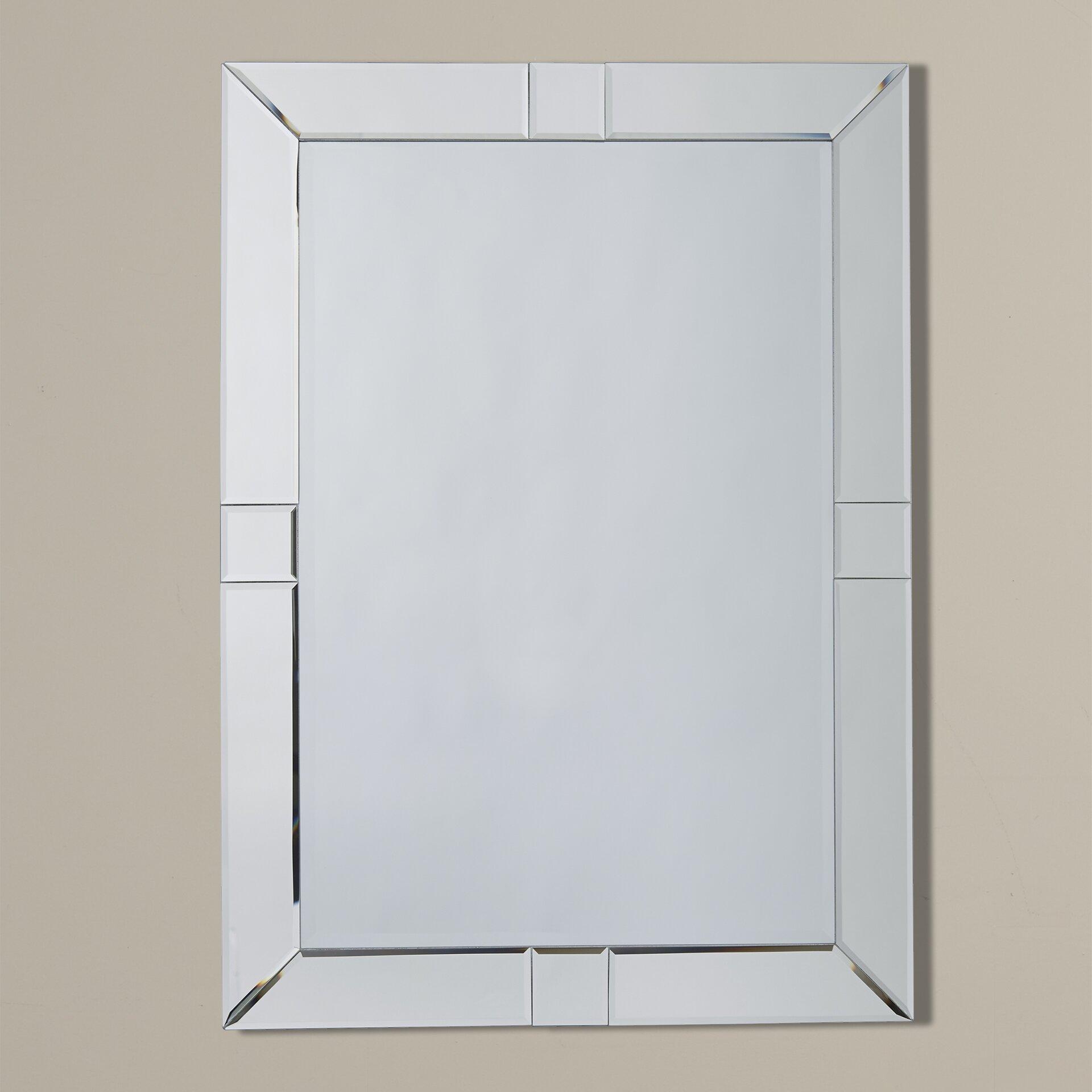 House of hampton antonio rectangle beveled wall mirror for Beveled wall mirror