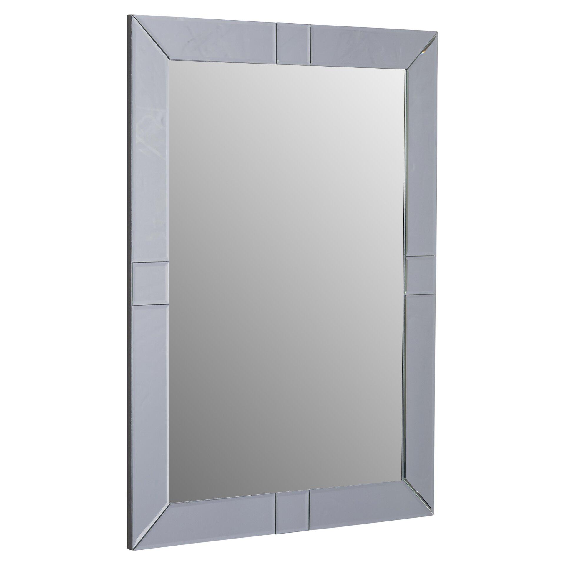 House of hampton antonio rectangle beveled wall mirror for Rectangle mirror