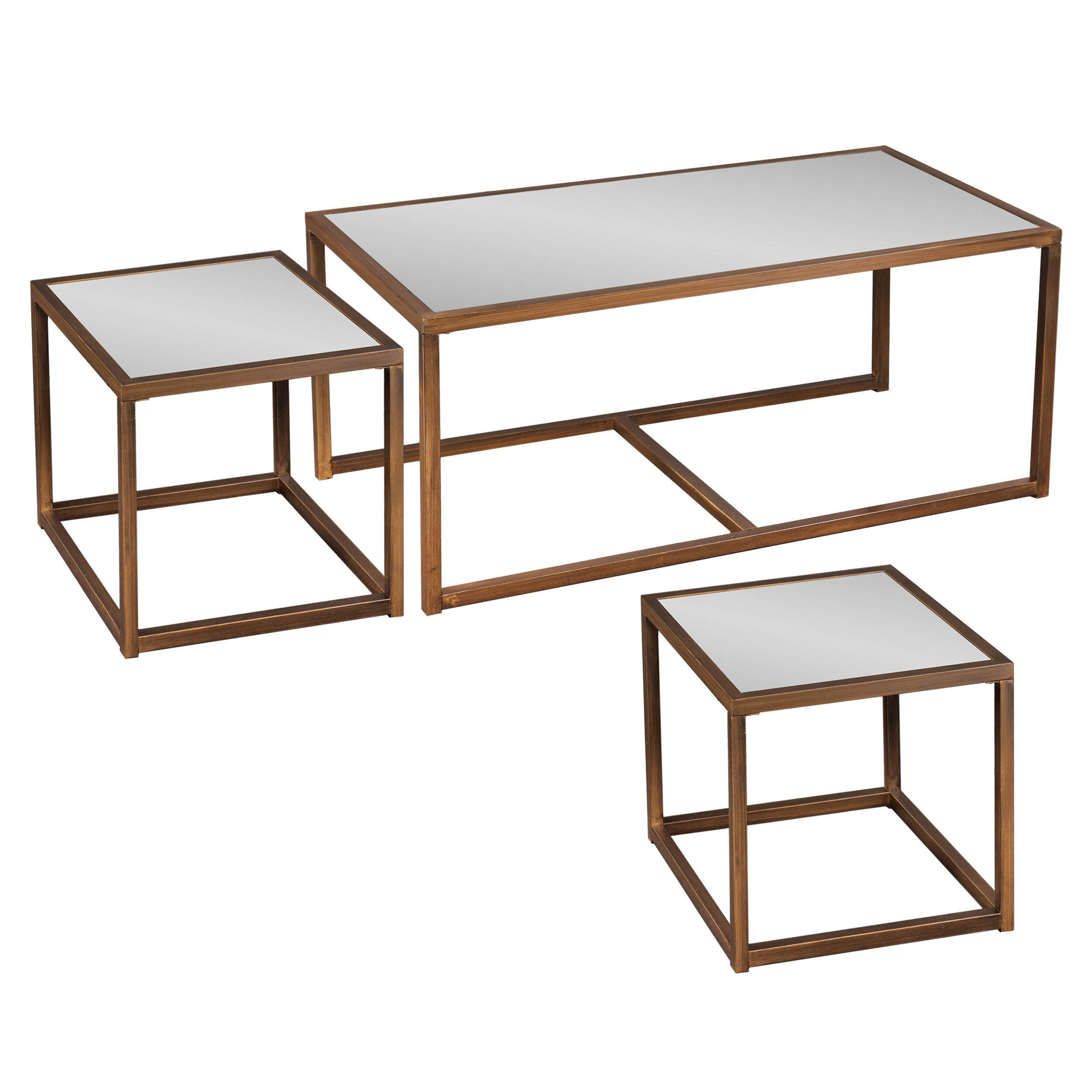 House Of Hampton Hardy Coffee Table With Nested Stools Reviews Wayfair