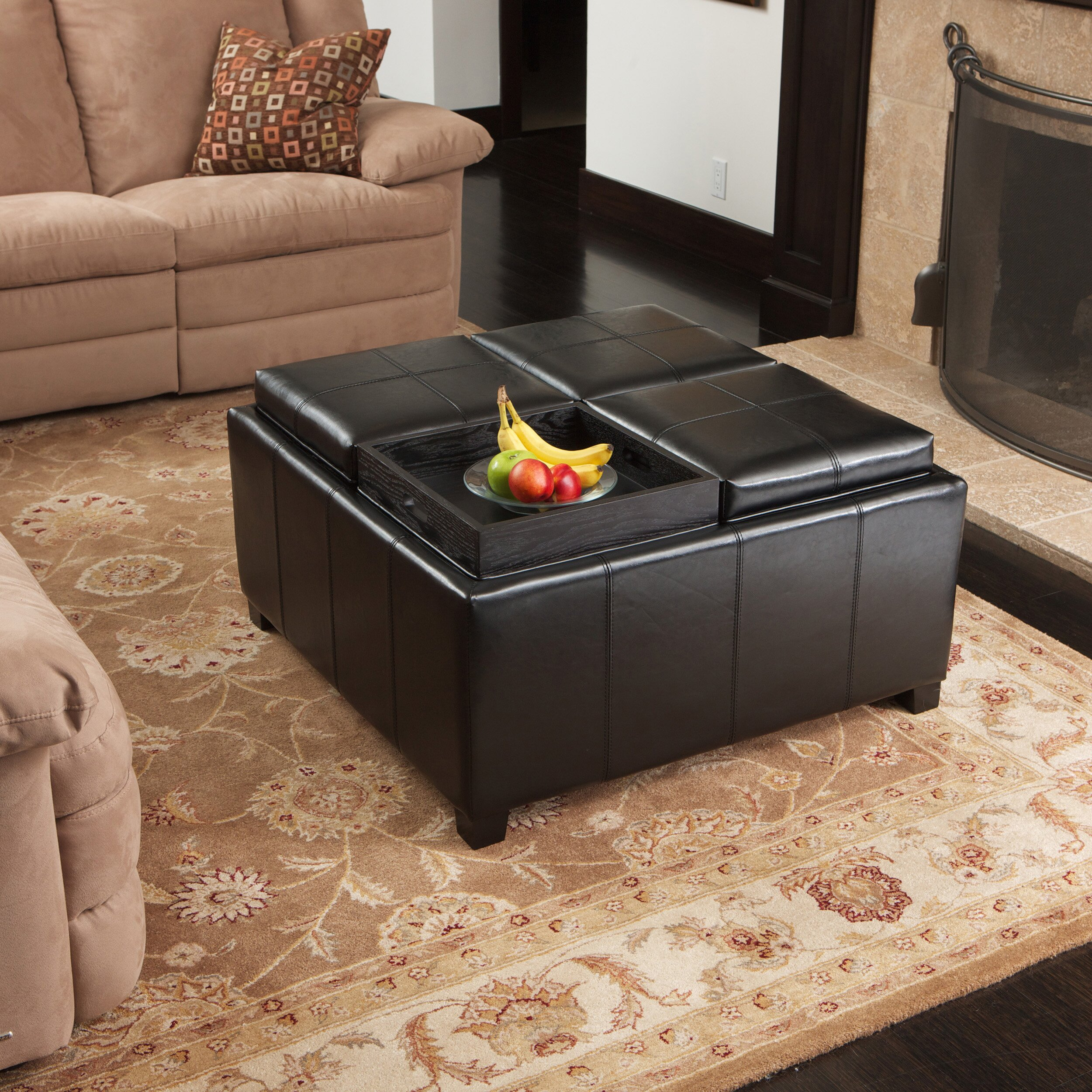 Ottomans Brussels Brown Bonded Leather Storage Chest: House Of Hampton Dandridge Leather Tray Storage Ottoman