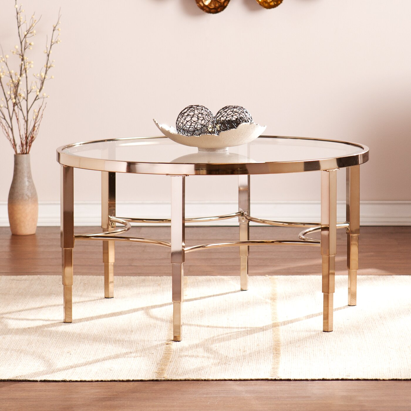 Gold Gilded Coffee Table: House Of Hampton Herione Metallic Gold Coffee Table