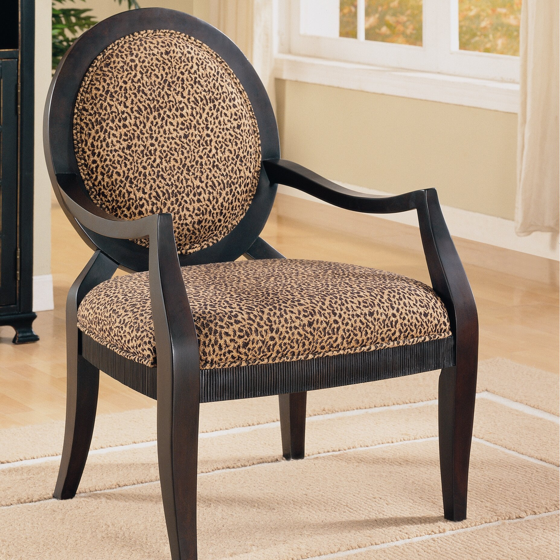 House of Hampton Leopard Print Distressed Fabric Arm Chair ...
