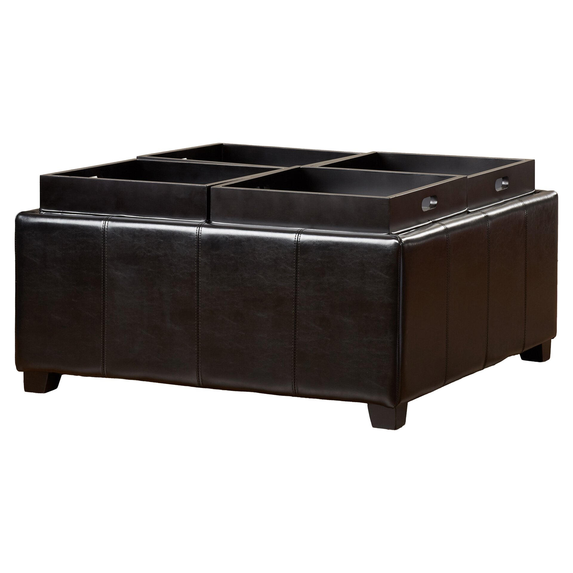 house of hampton dandridge leather tray storage ottoman. Black Bedroom Furniture Sets. Home Design Ideas