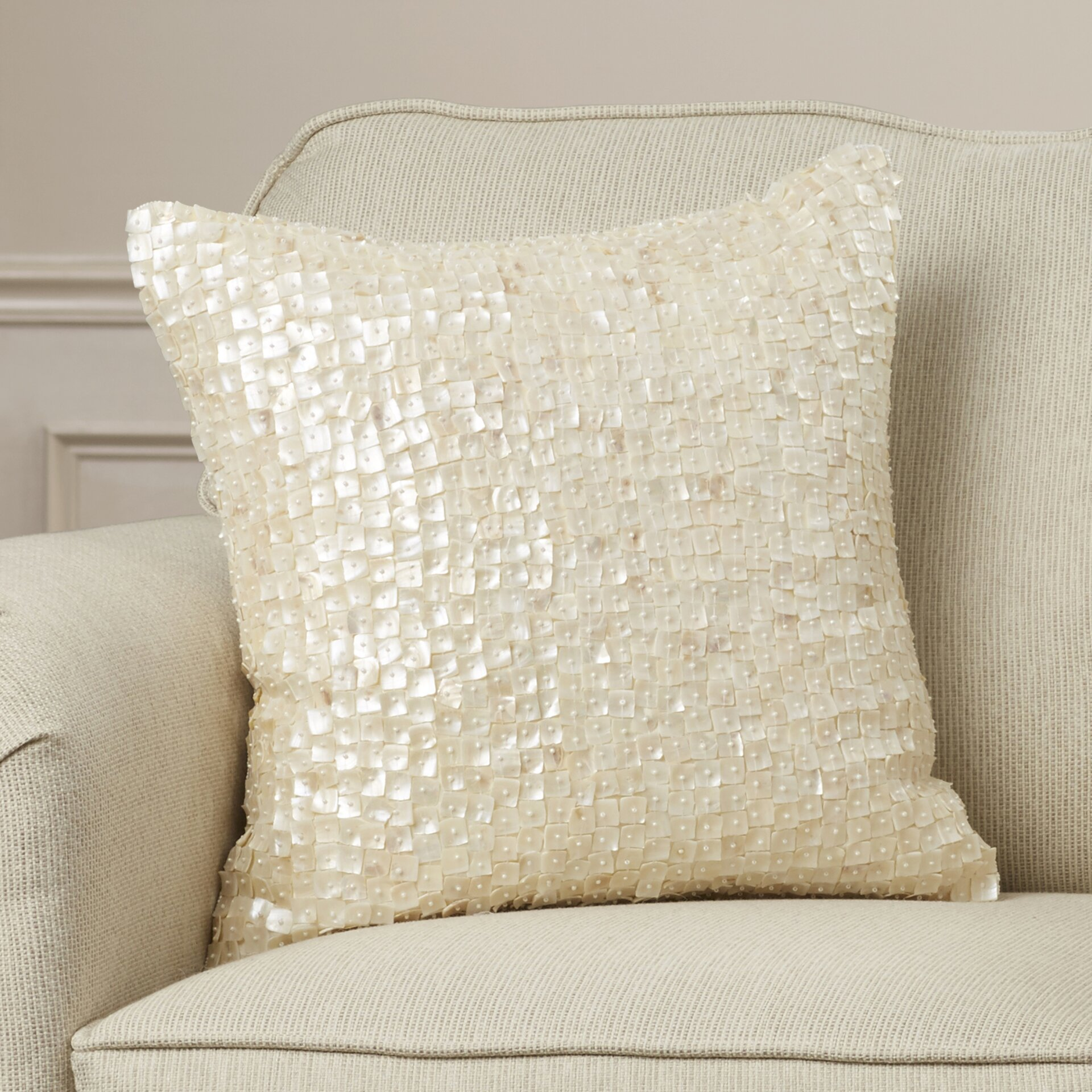 Decorative Pillow With Pearls : House of Hampton Vincent Pearl Throw Pillow & Reviews Wayfair