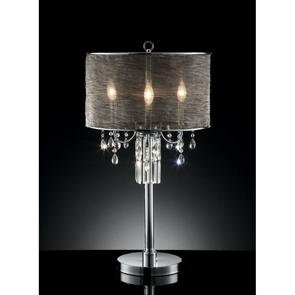house of hampton emerald 32 h table lamp with drum shade. Black Bedroom Furniture Sets. Home Design Ideas