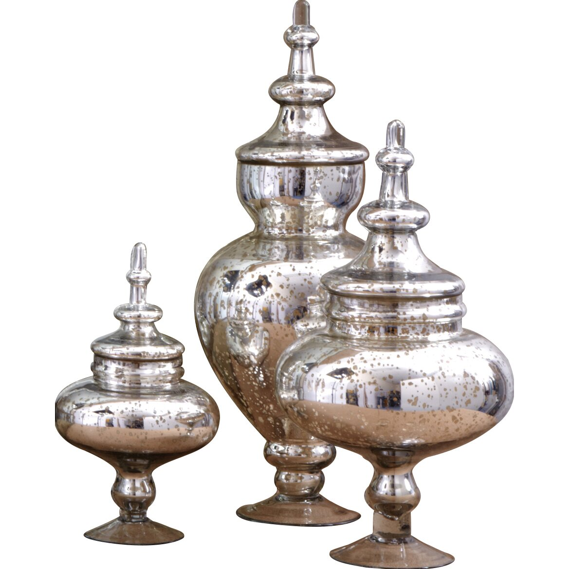 House of hampton 3 piece vintage covered decorative urn for Antique decoration pieces