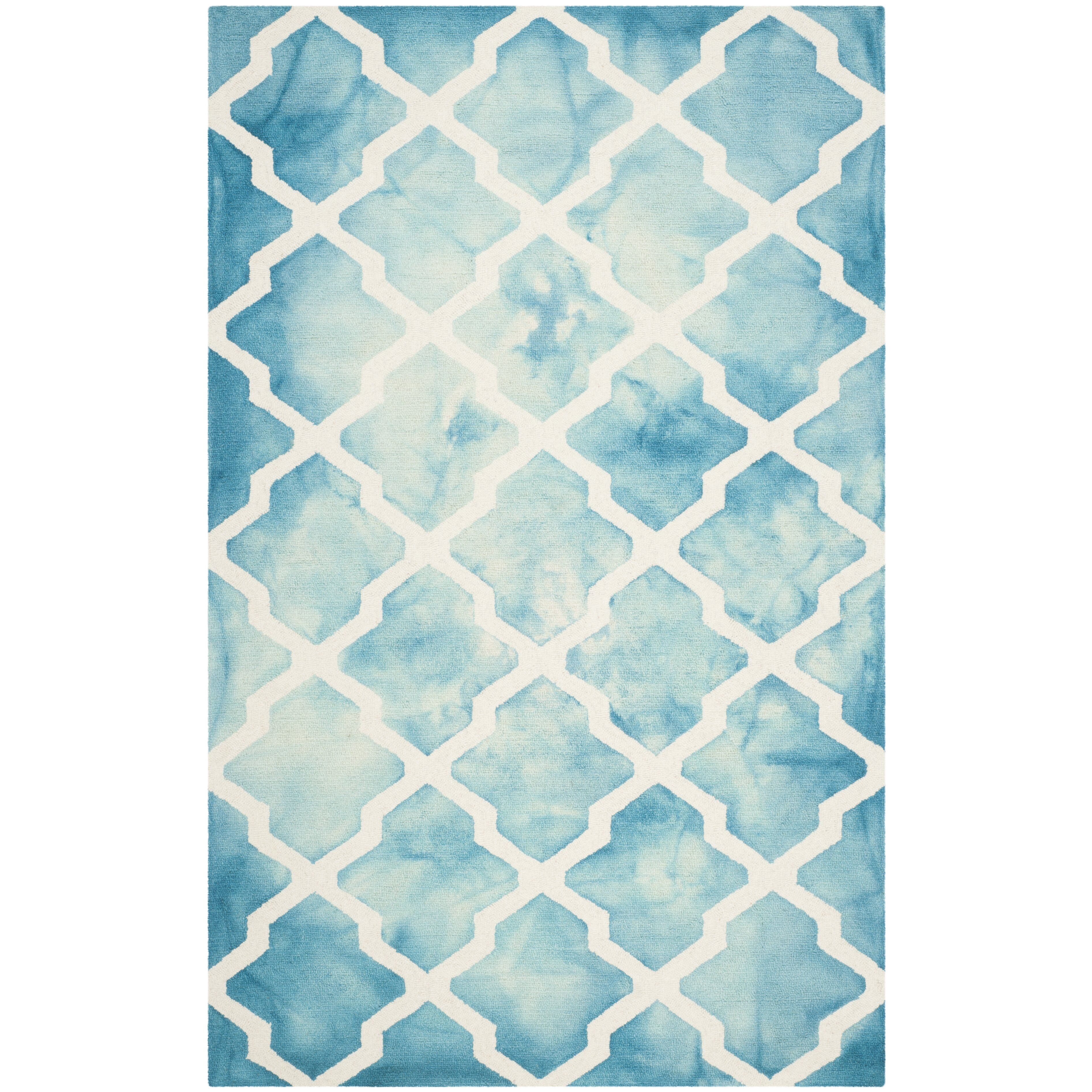 House of hampton hand tufted turquoise ivory area rug for Turquoise area rug