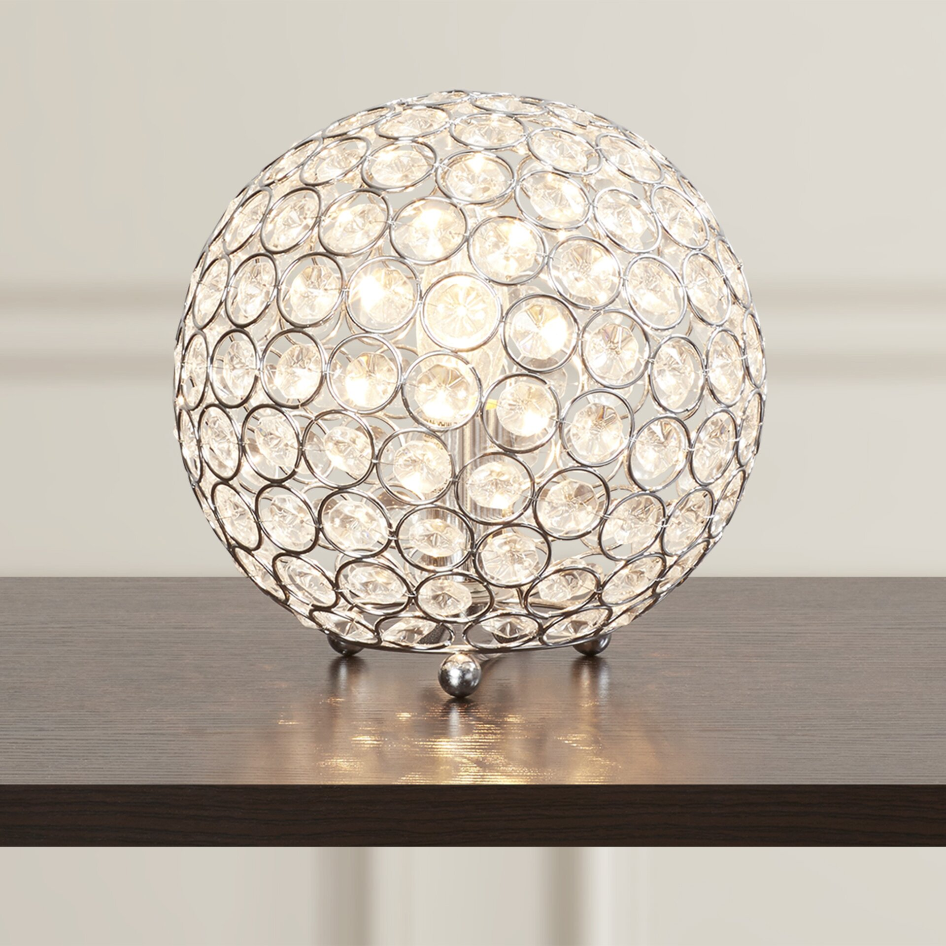 """House of Hampton Lamour Crystal Ball 8"""" H Table Lamp with Sphere Shade & Reviews 