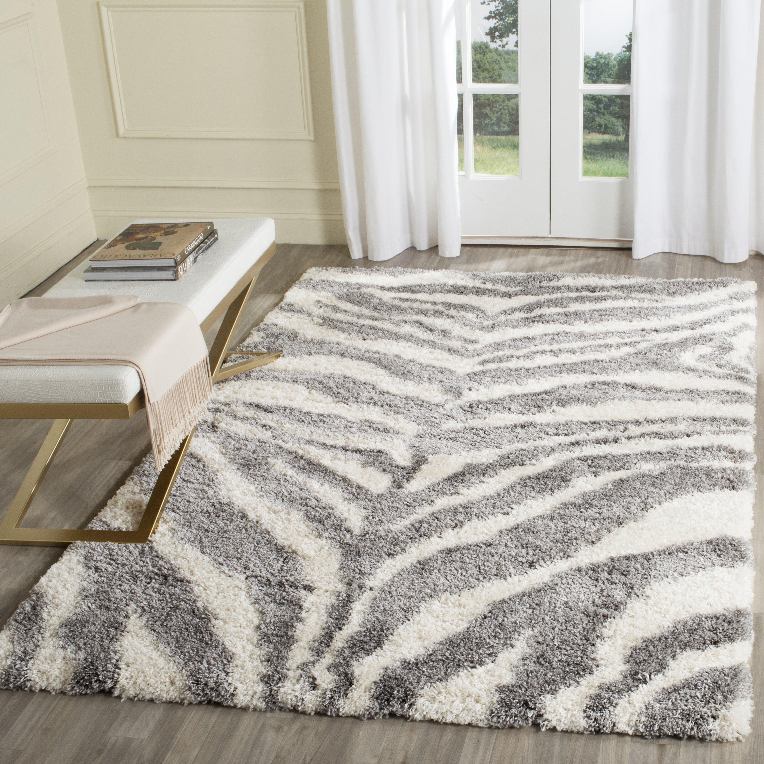Animal Print Rug Wayfair: House Of Hampton Laplaigne Shag Ivory/Gray Area Rug
