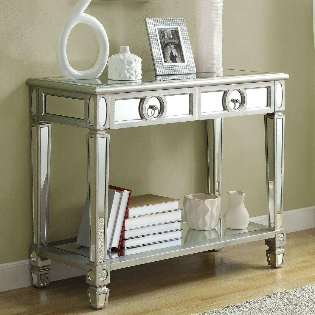 House of hampton ripley 2 drawer mirrored console table for Mirrored console with drawers