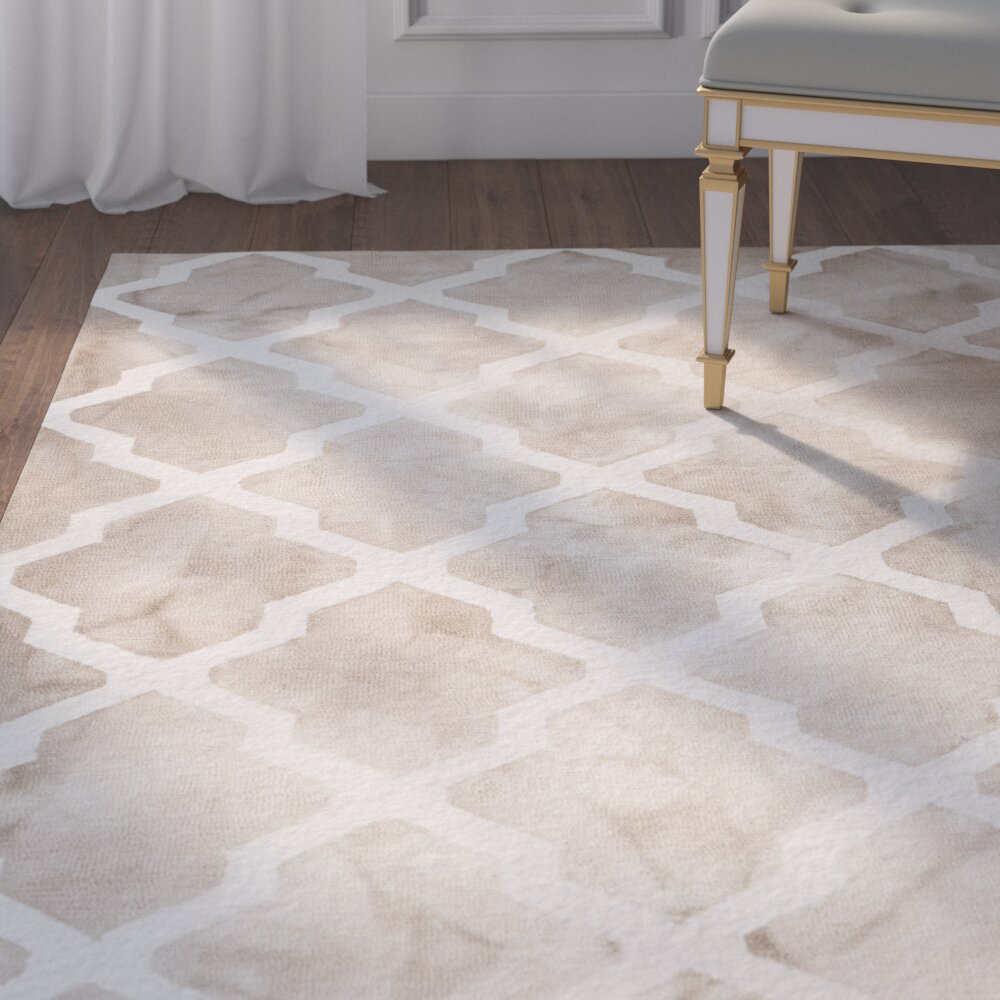 House Of Hampton Hand-Tufted Beige/Ivory Area Rug