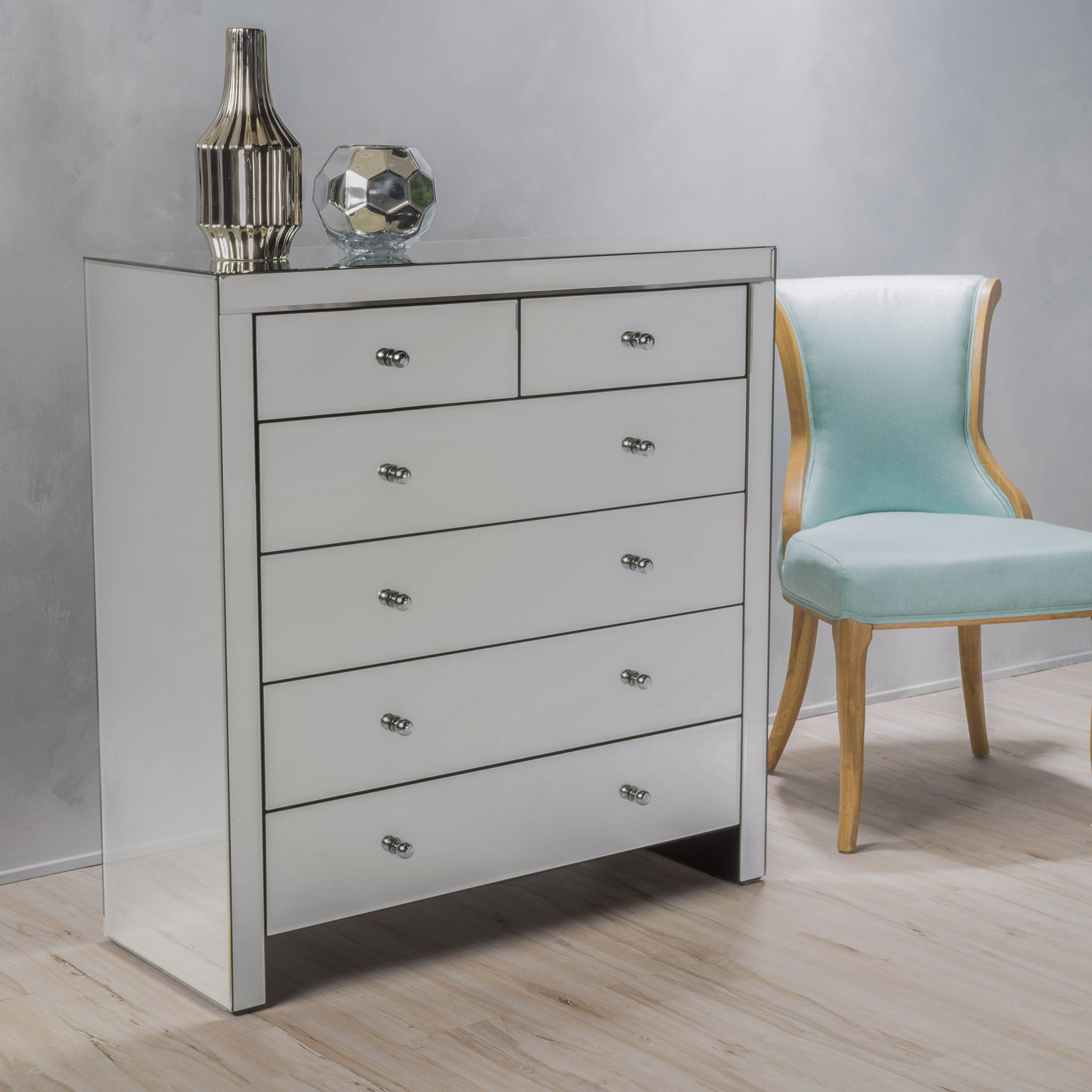 house of hampton ralston 6 drawer mirrored chest wayfair. Black Bedroom Furniture Sets. Home Design Ideas