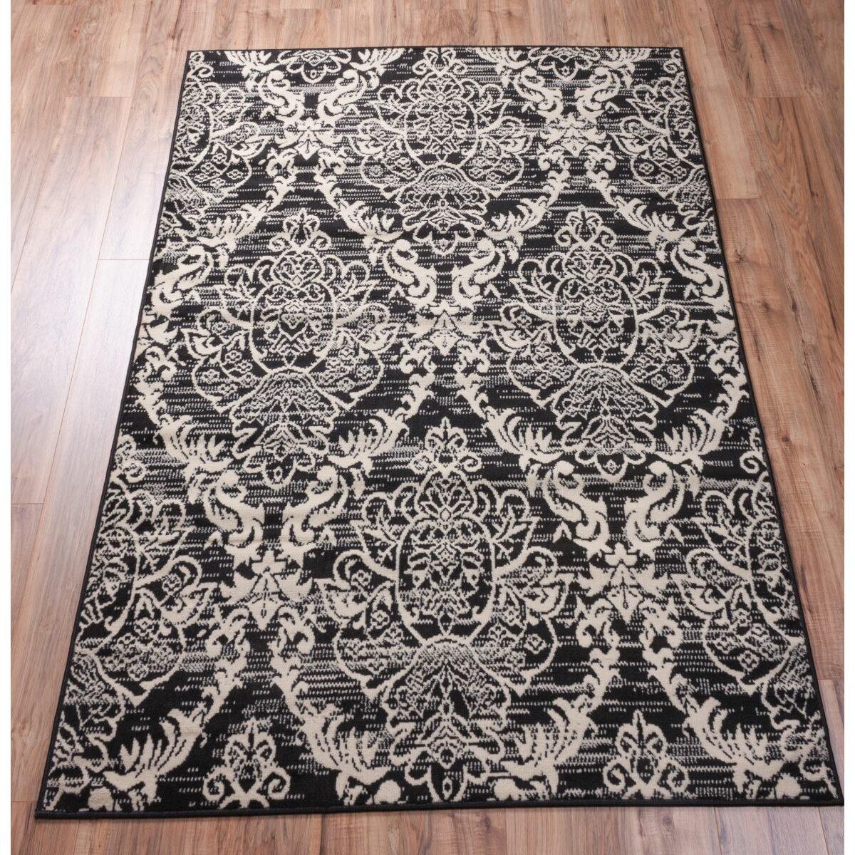 house of hampton aldenport sunshine circles black white area rug reviews wayfair. Black Bedroom Furniture Sets. Home Design Ideas