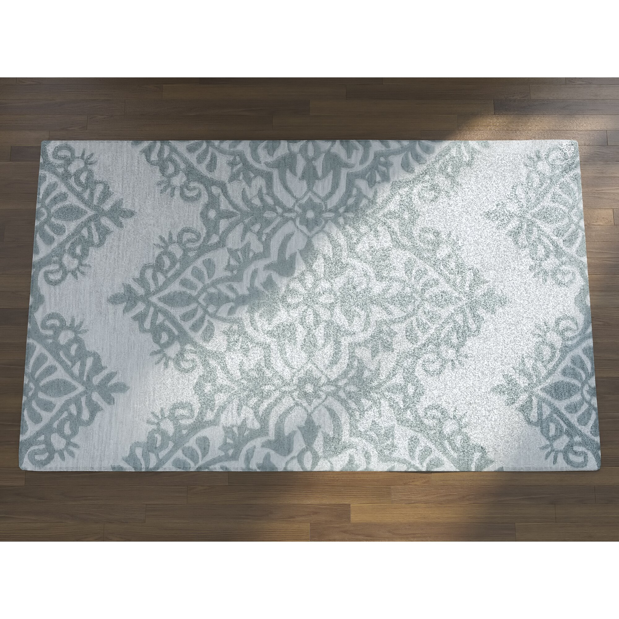 House Of Hampton Ludlow Hand-Tufted Green/Gray Area Rug