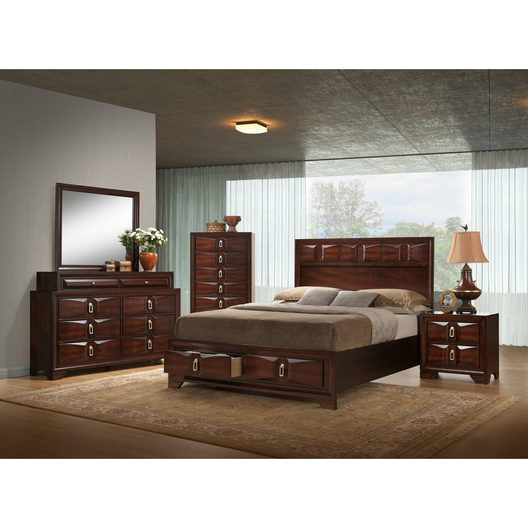 Simmons casegoods roswell panel customizable bedroom set for Complete bedroom packages