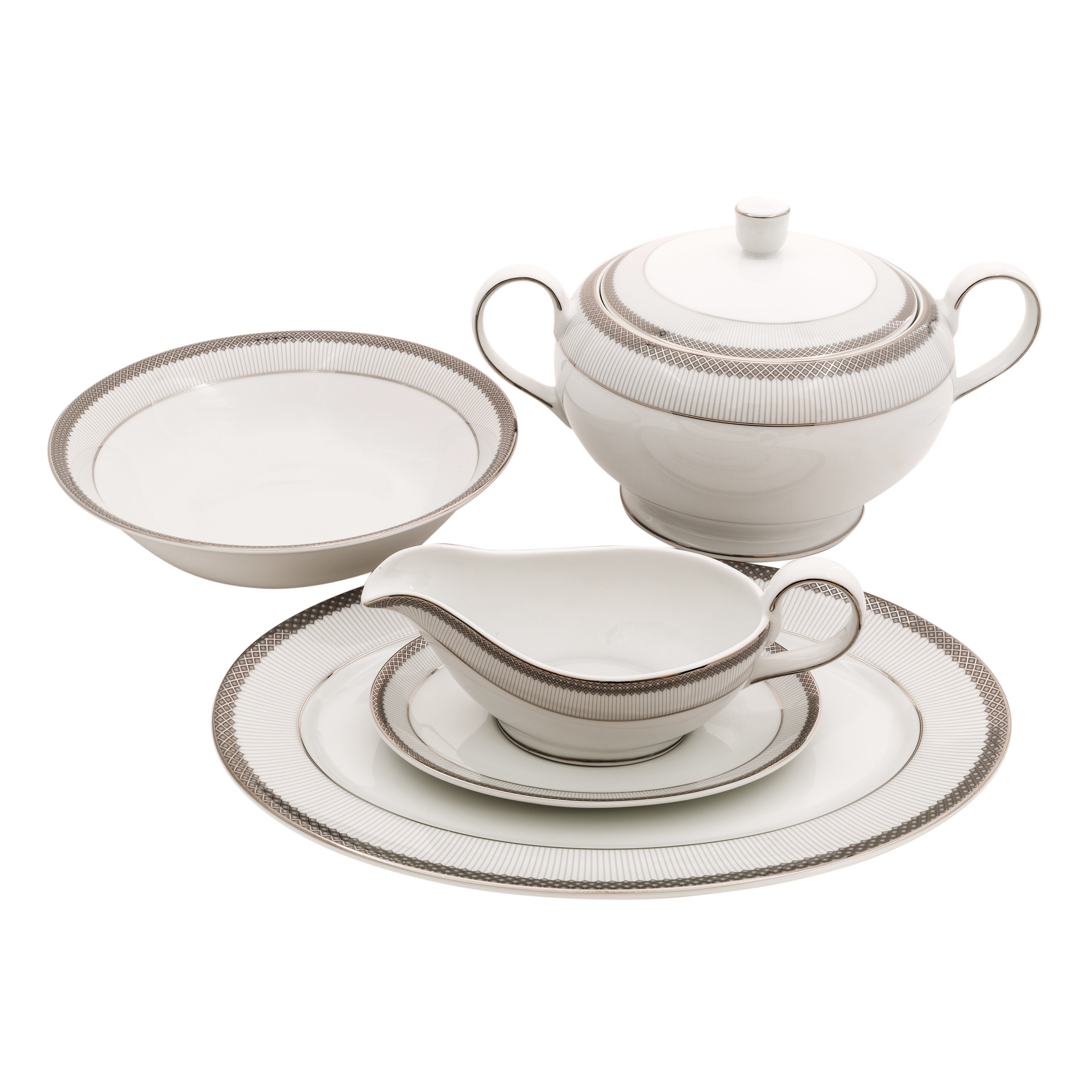 Shinepukur Ceramics USA Inc Diamond Fine China Special Serving 5 Piece Dinn