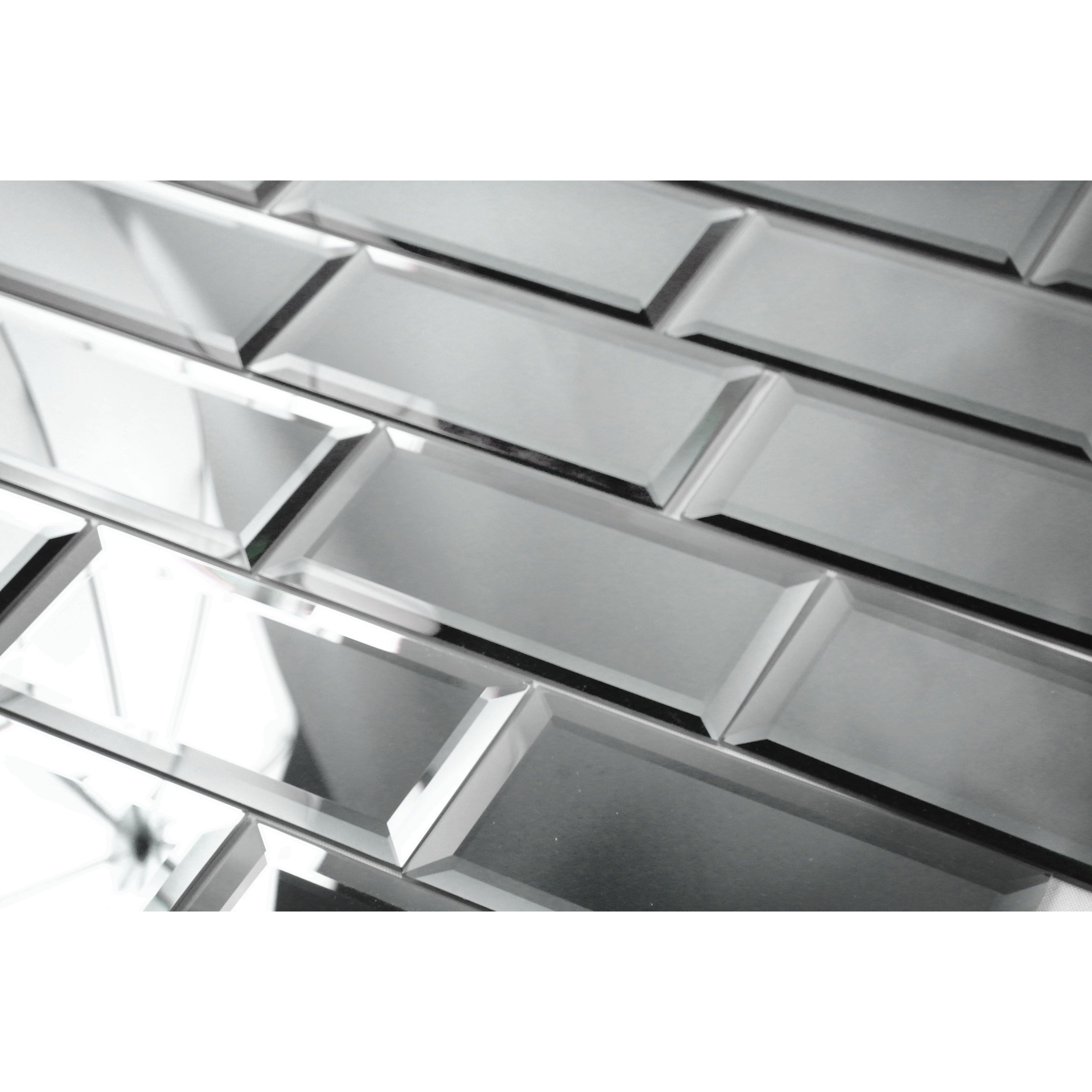 abolos echo 3 x 6 mirror glass subway tile in graphite peel stick reviews wayfair. Black Bedroom Furniture Sets. Home Design Ideas