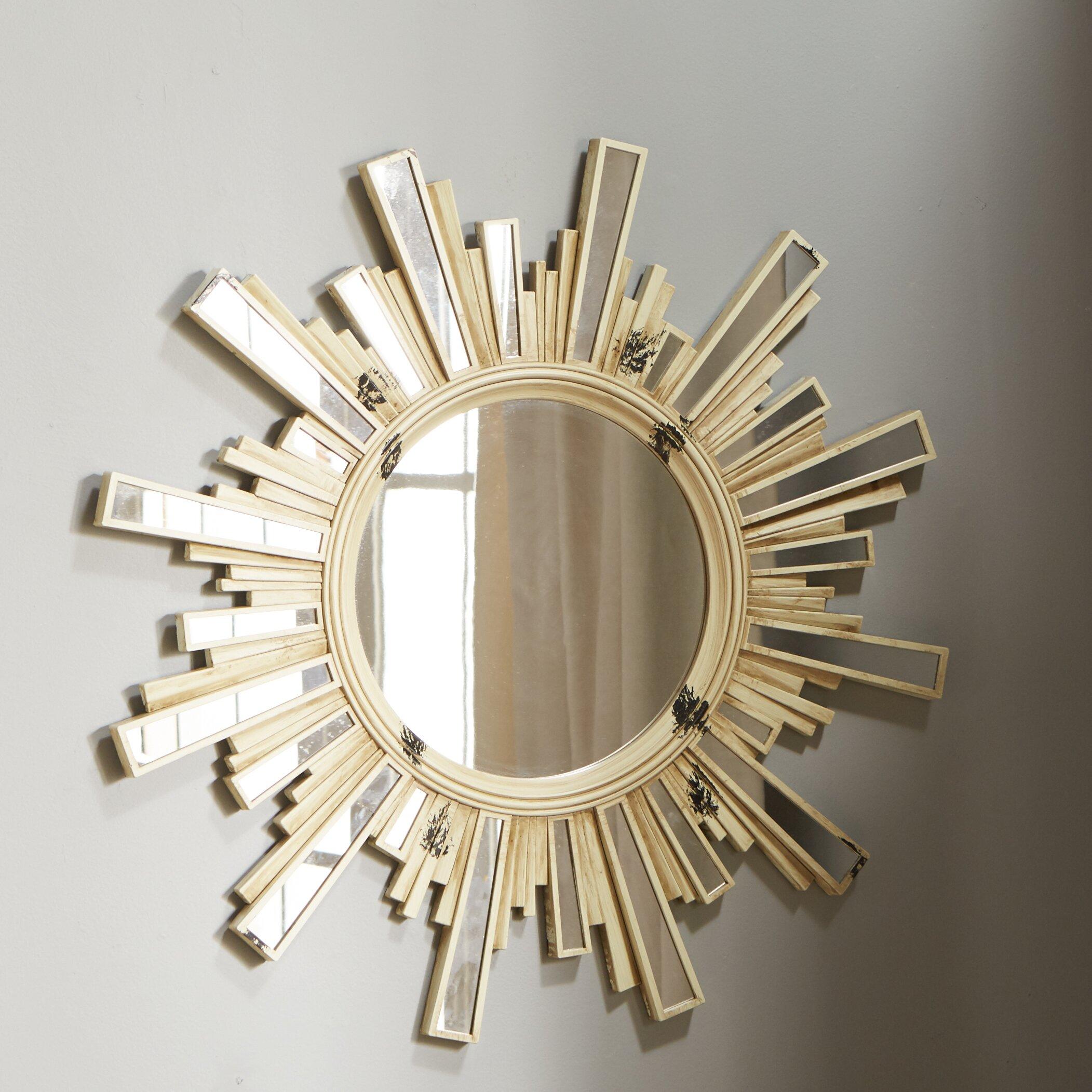 Koleimports paint splattered sunburst mirror with inlaid for Sunburst mirror
