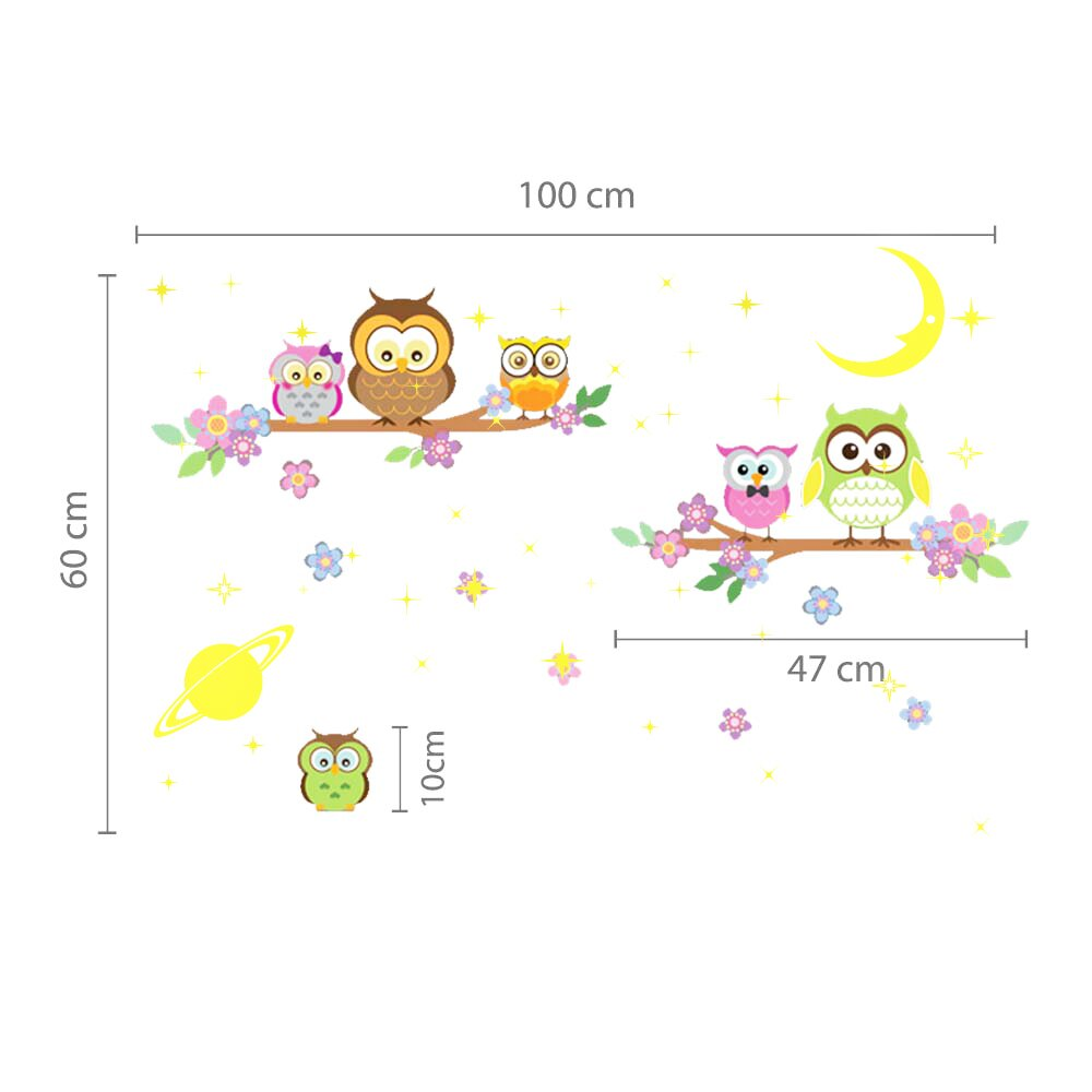 walplus owl tree moon and stars wall sticker wayfair uk