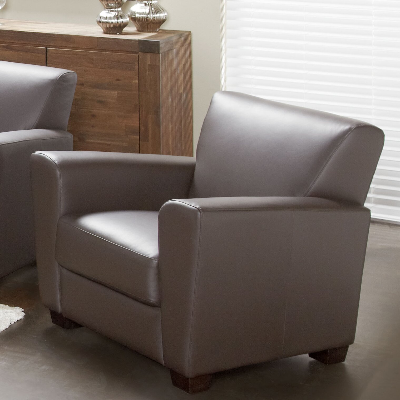 lind furniture cameo top grain leather arm chair wayfair. Black Bedroom Furniture Sets. Home Design Ideas