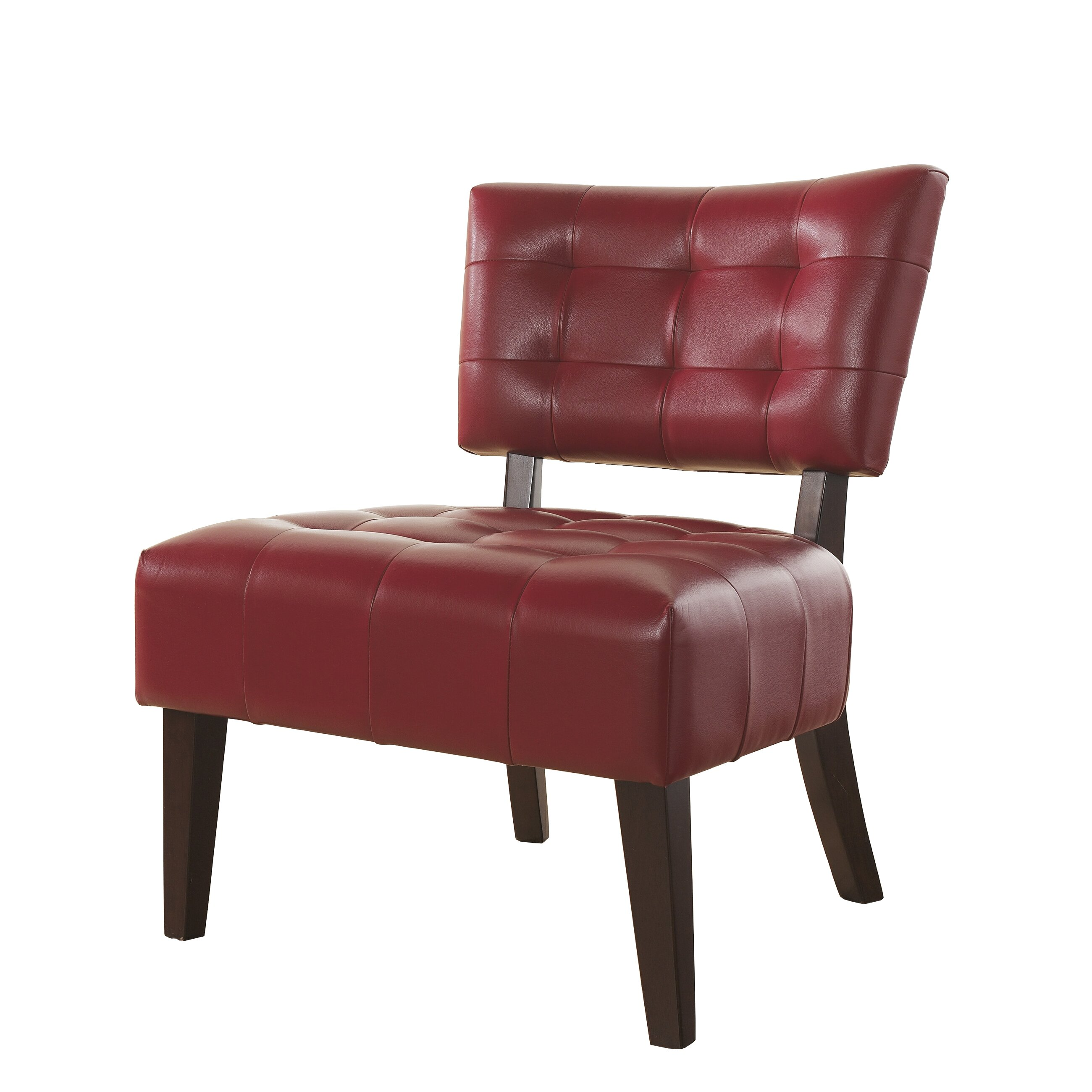 Roundhill Furniture Anjotiya Faux Leather Tufted Chair