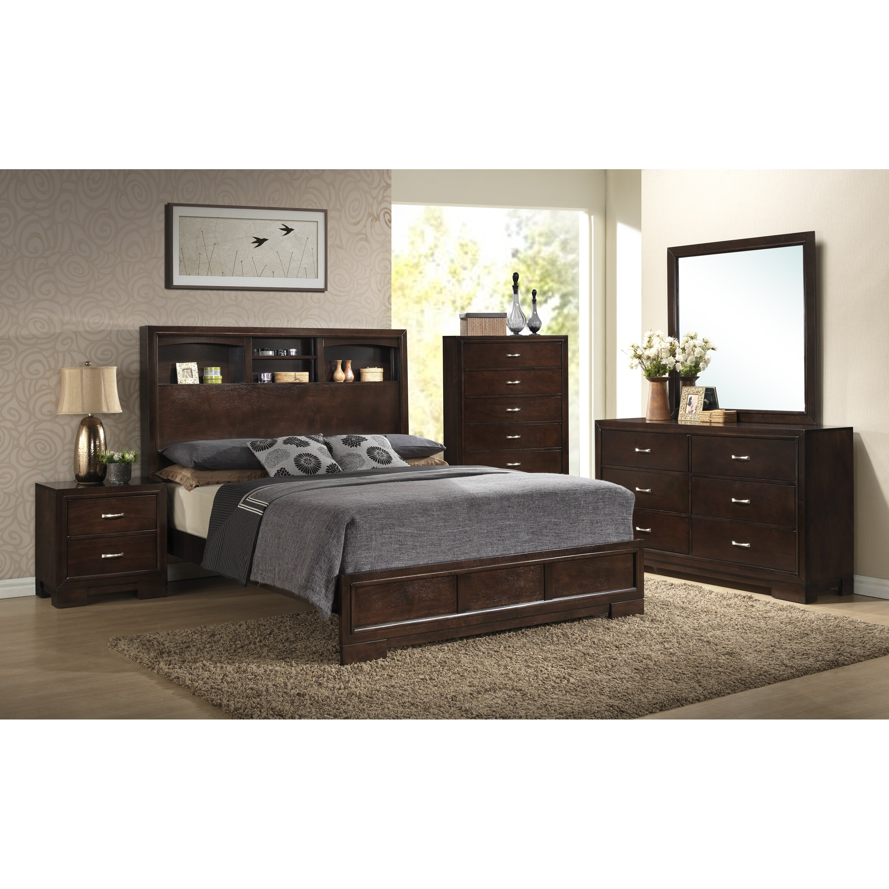 Roundhill Furniture Montana Storage Panel Bed & Reviews
