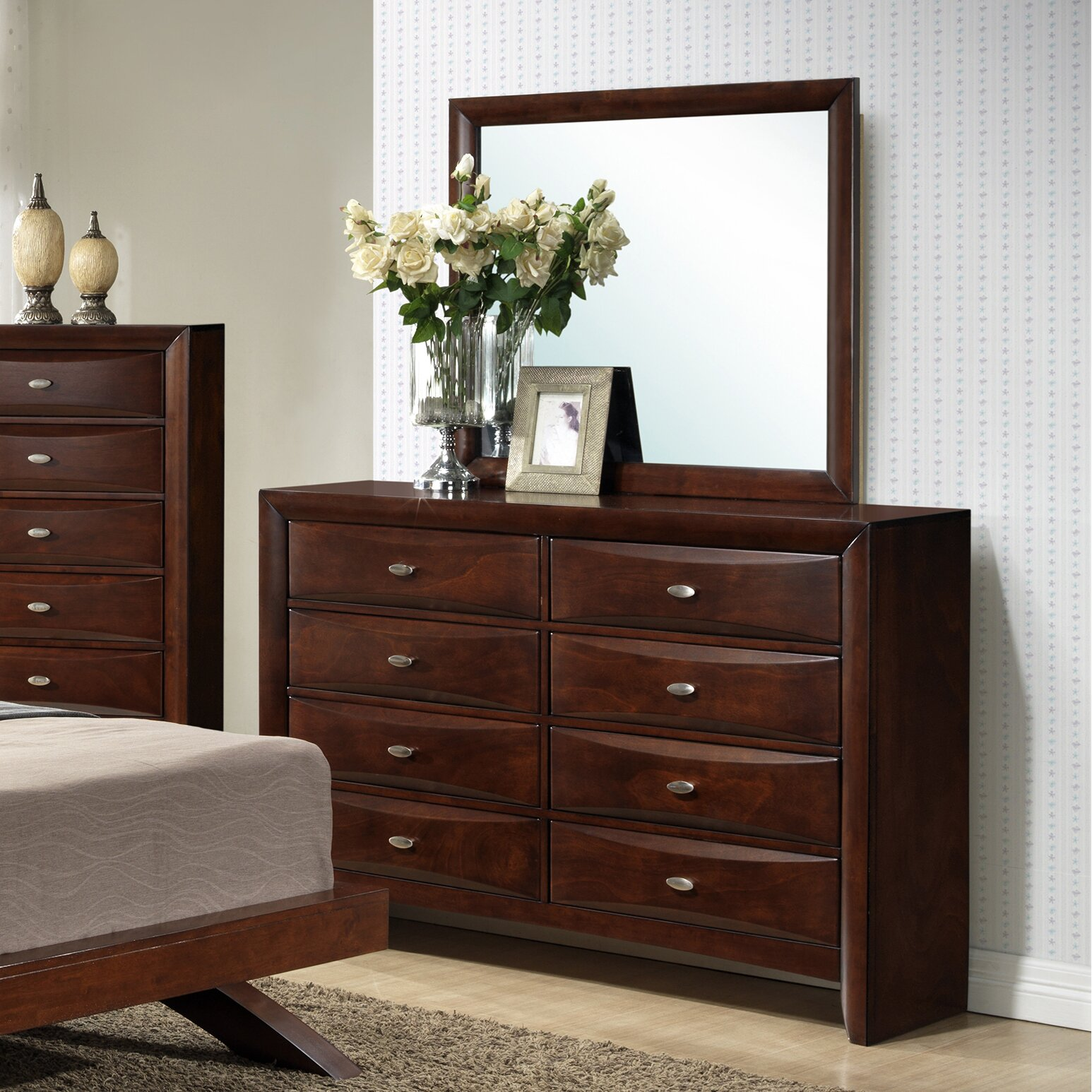 Roundhill Furniture Emily Panel 4 Piece Bedroom Set