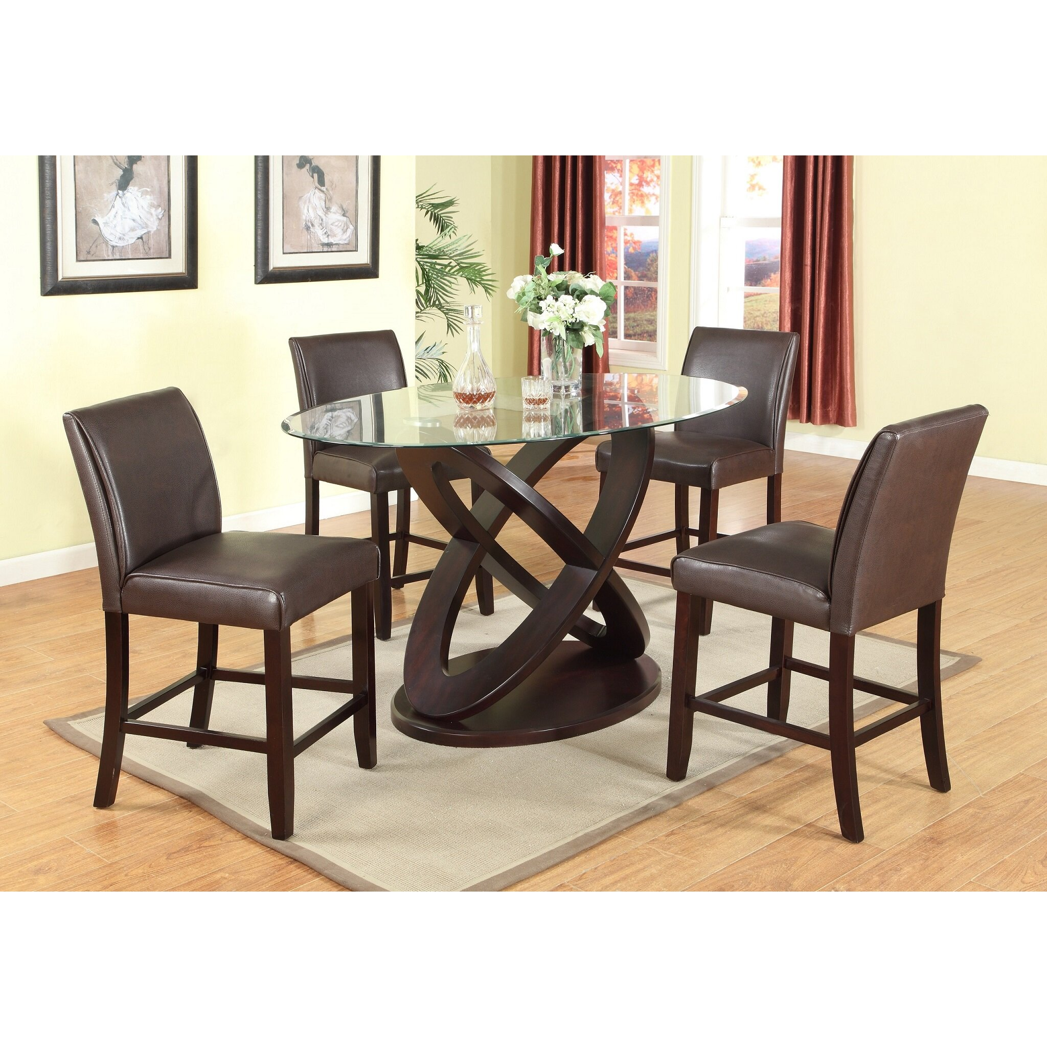 Ashland Black Counter Height 5 Piece Dining Set: Roundhill Furniture Cicicol 5 Piece Counter Height Dining