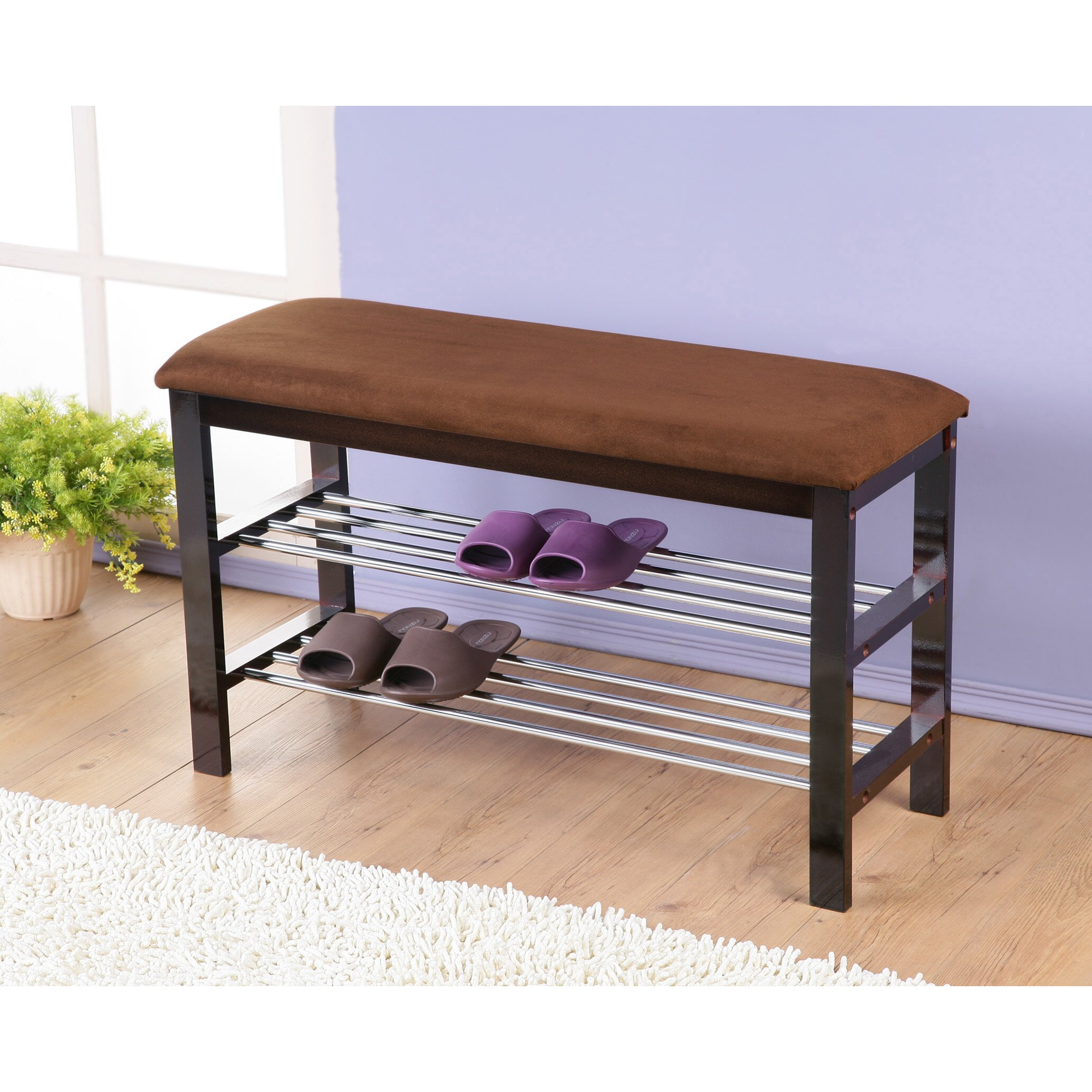 Roundhill Furniture Wood Shoe Bench Reviews Wayfair