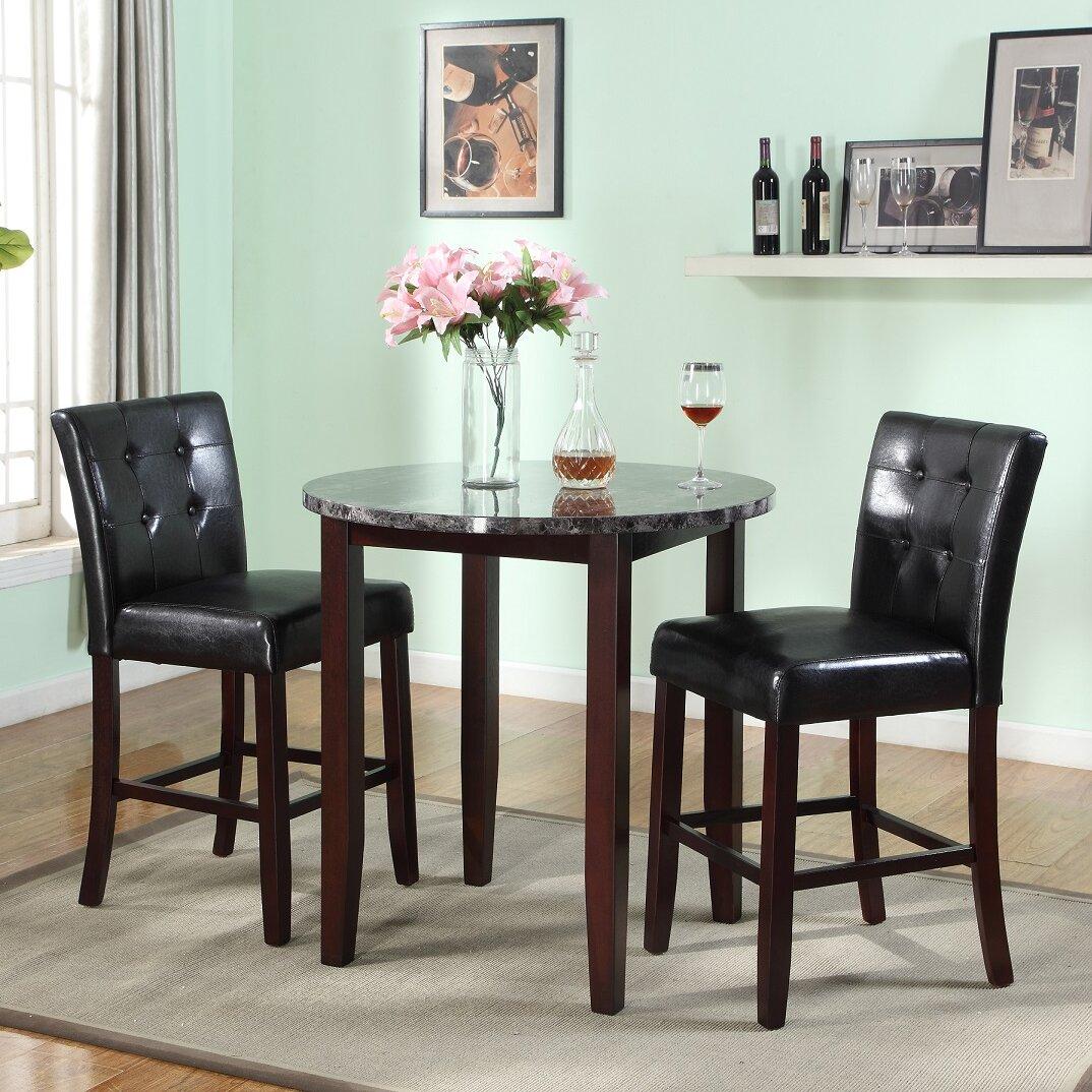 roundhill furniture praia 3 piece counter height dining set reviews wayfair. Black Bedroom Furniture Sets. Home Design Ideas