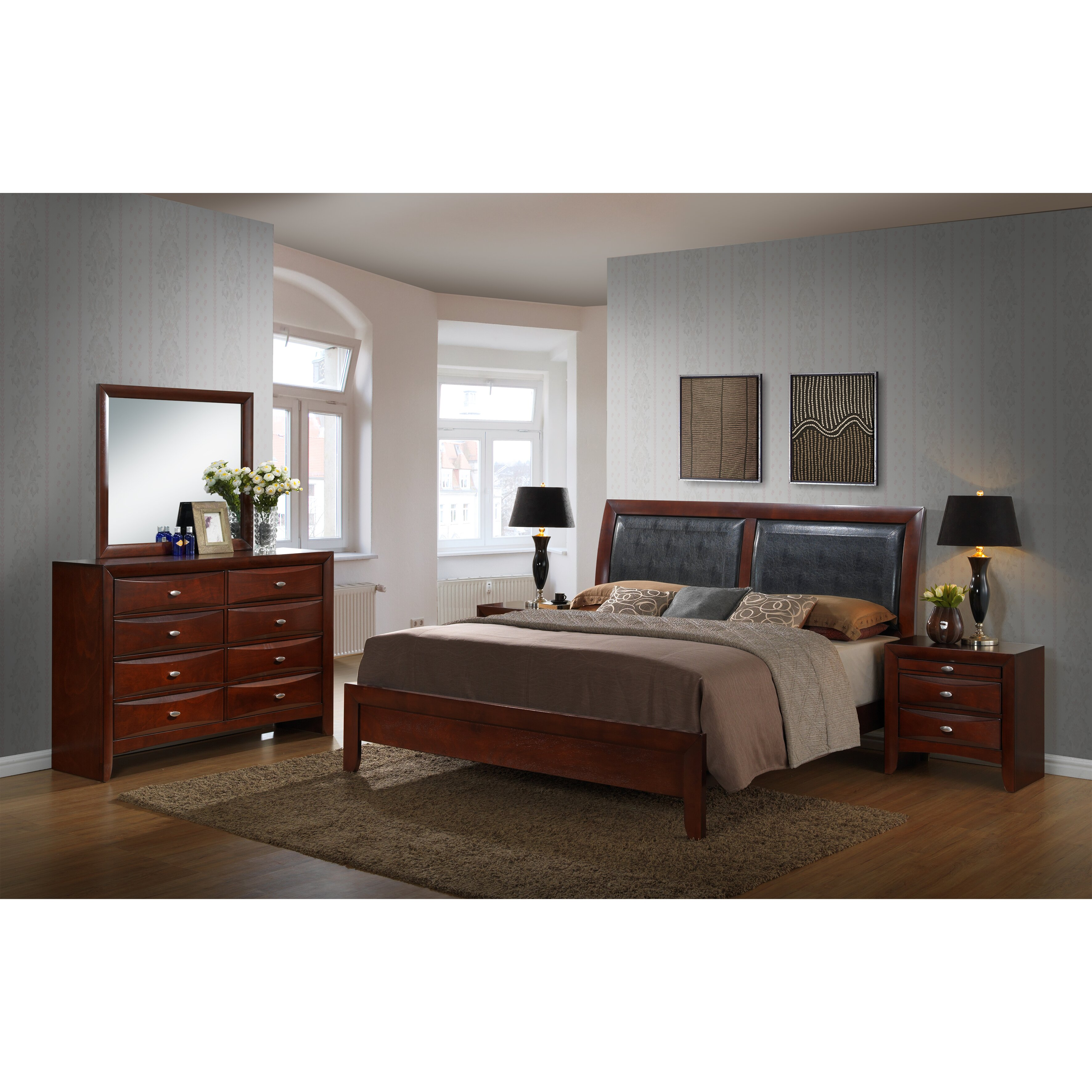 Roundhill furniture emily panel 5 piece bedroom set wayfair for Bedroom 5 piece sets