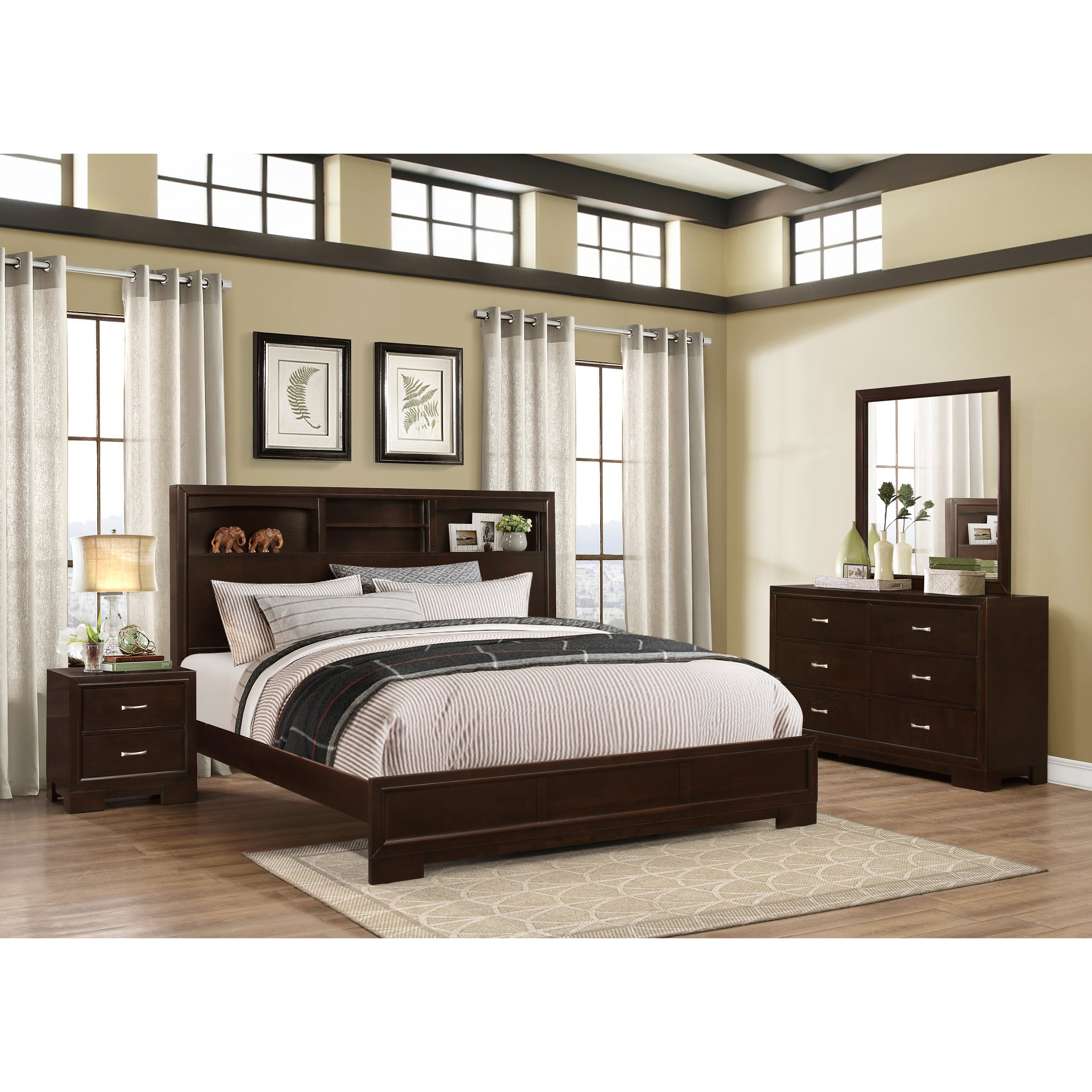 Roundhill Furniture Montana Panel 4 Piece Bedroom Set Reviews Wayfair