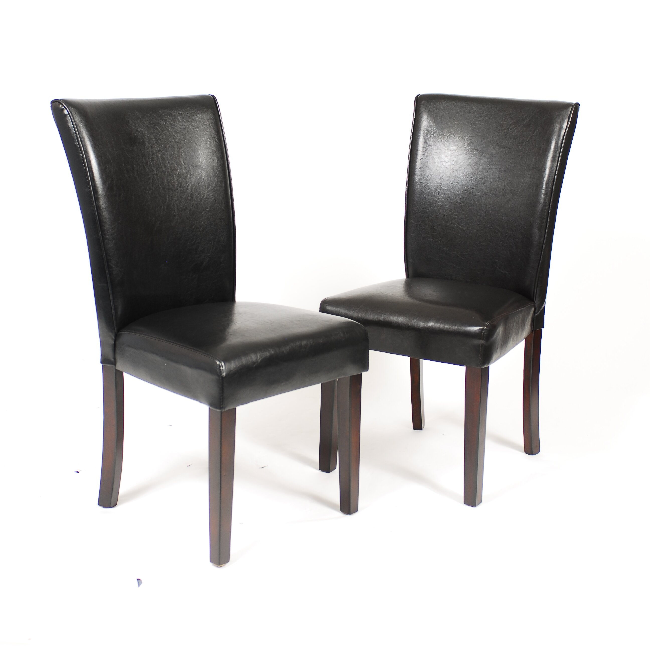 Harper Leatherette Dining Chair Black: Roundhill Furniture Black Leatherette Parson Chair