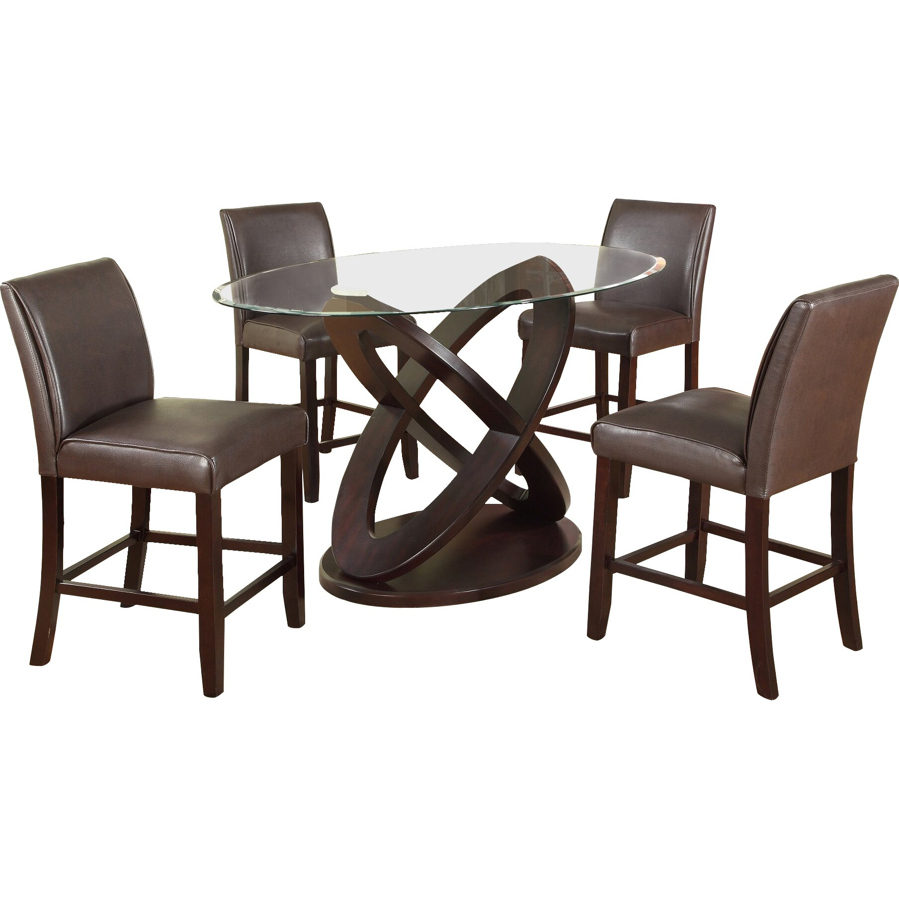Roundhill furniture cicicol 5 piece counter height dining for 5 piece dining set